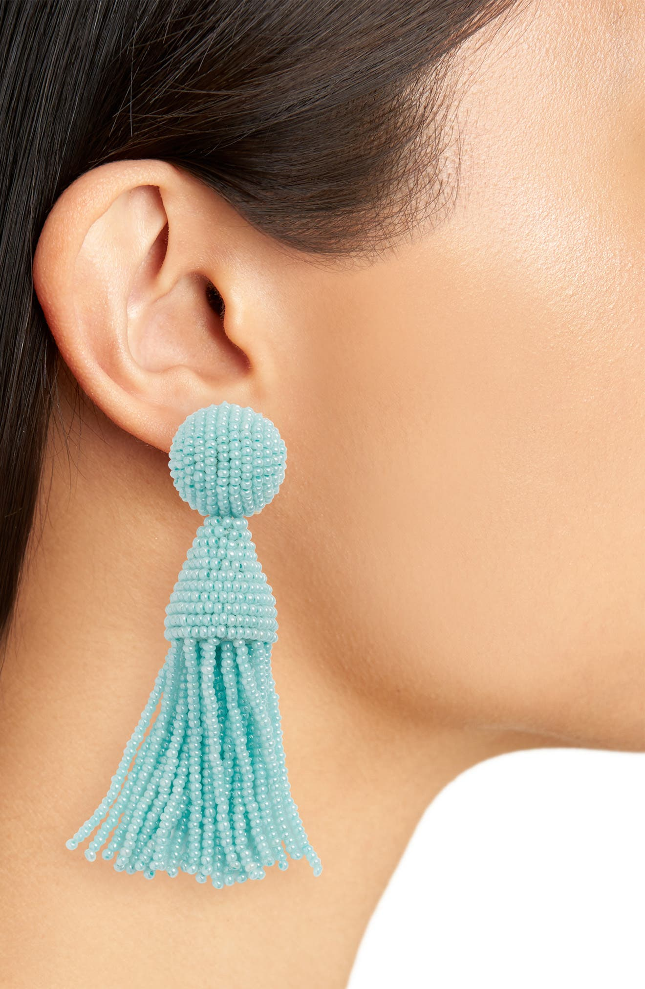 Beaded Tassel Drop Earring,                             Alternate thumbnail 3, color,