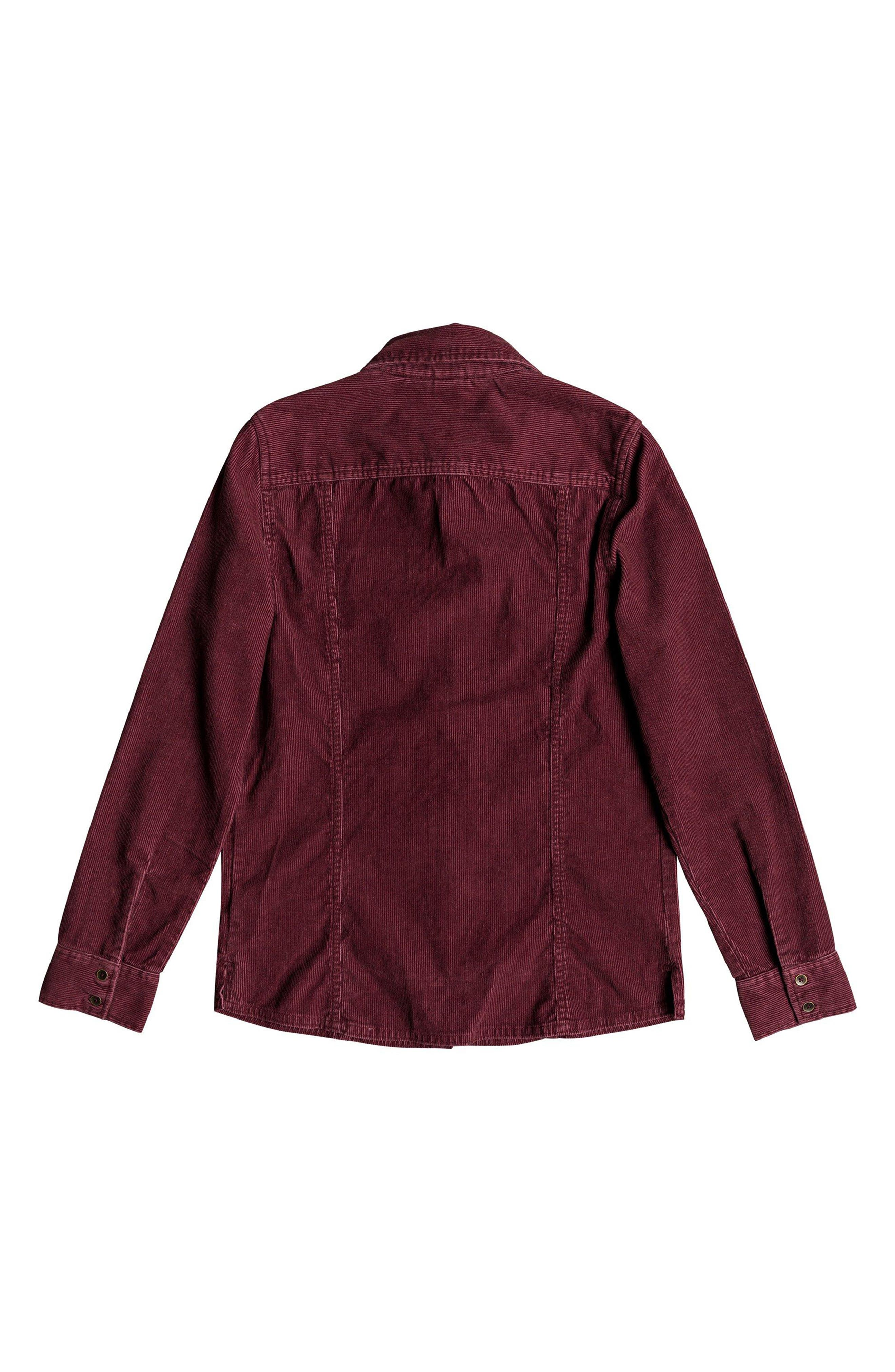 The Edge Of Wildness Corduroy Shirt,                             Alternate thumbnail 4, color,                             OXBLOOD RED