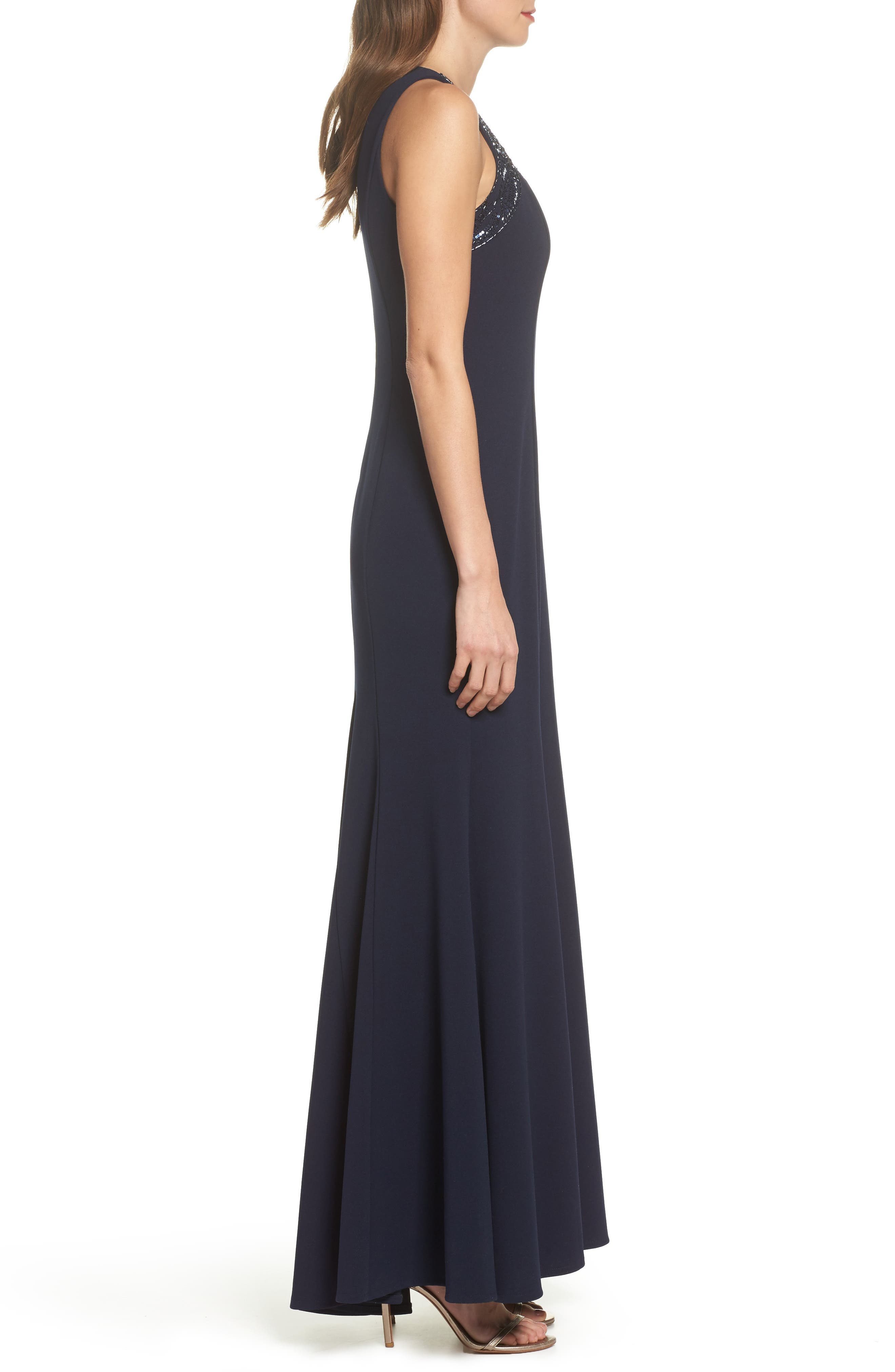 Sleeveless Scuba Crepe Gown,                             Alternate thumbnail 3, color,                             410