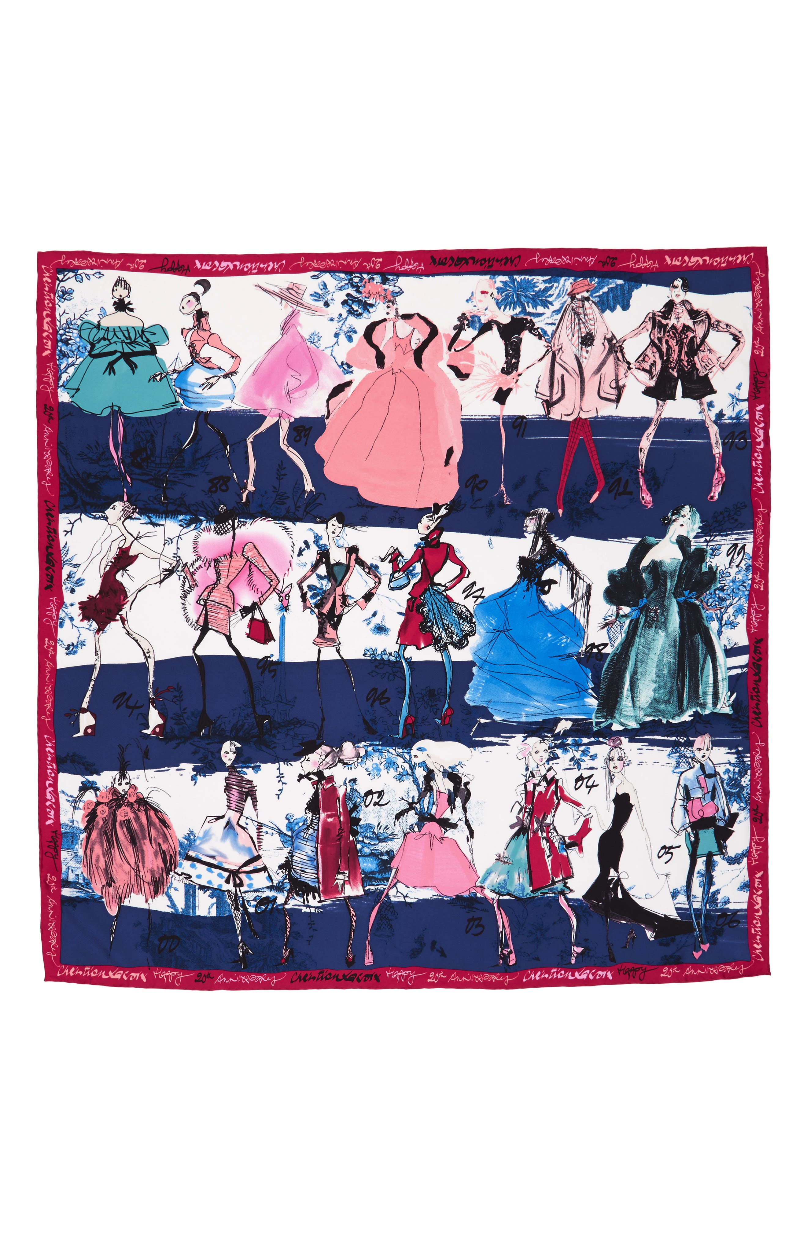 '20 Ans' Square Silk Scarf,                             Alternate thumbnail 10, color,