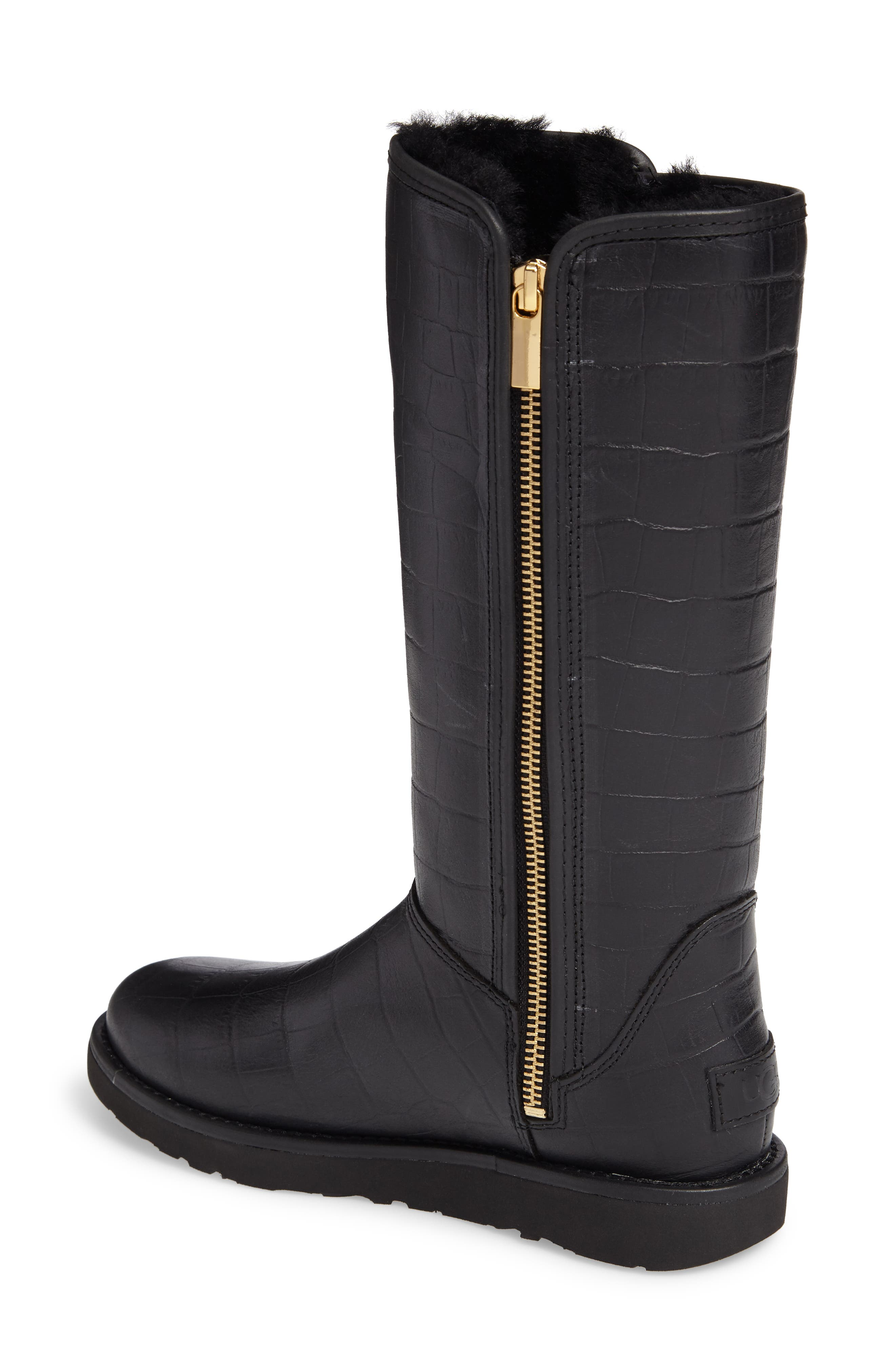Abree II Croc Embossed Boot,                             Alternate thumbnail 2, color,                             001