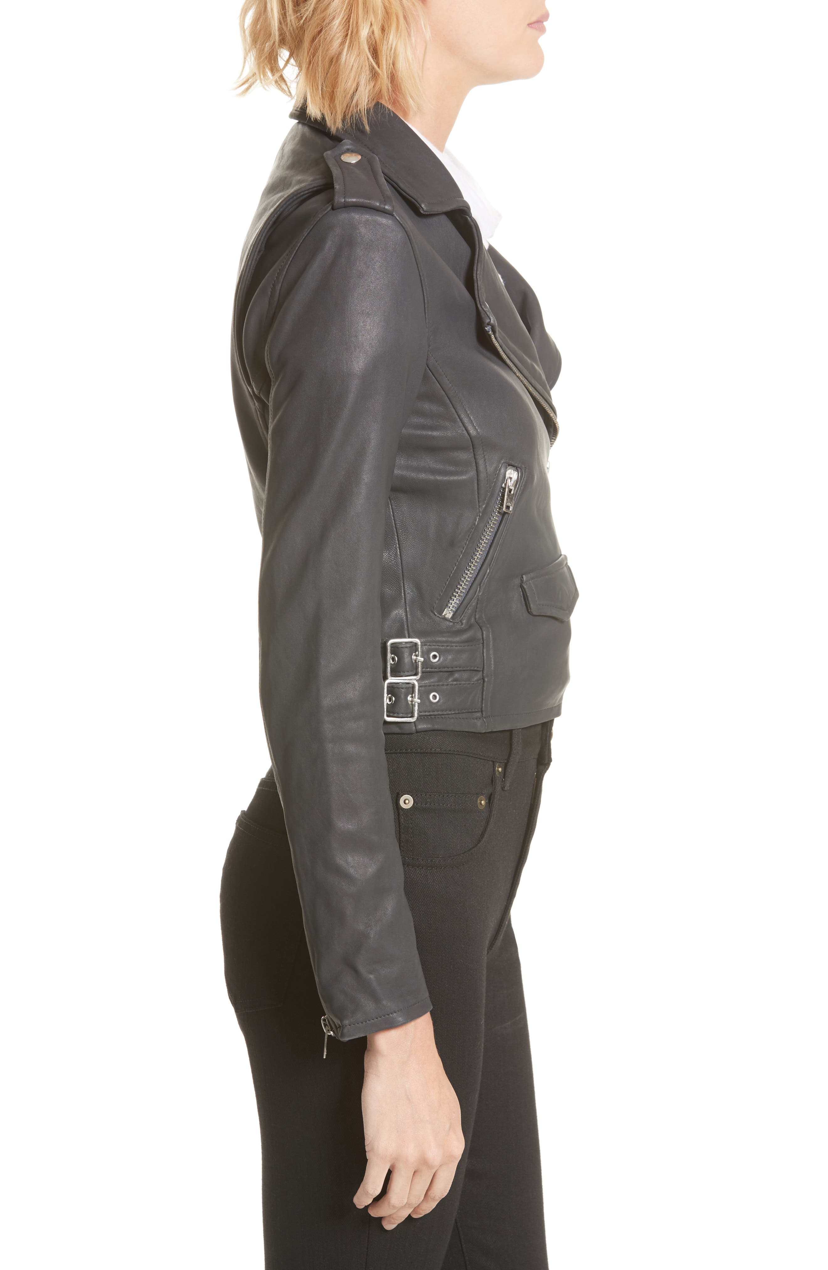 'Ashville' Lambskin Leather Moto Jacket,                             Alternate thumbnail 3, color,                             029