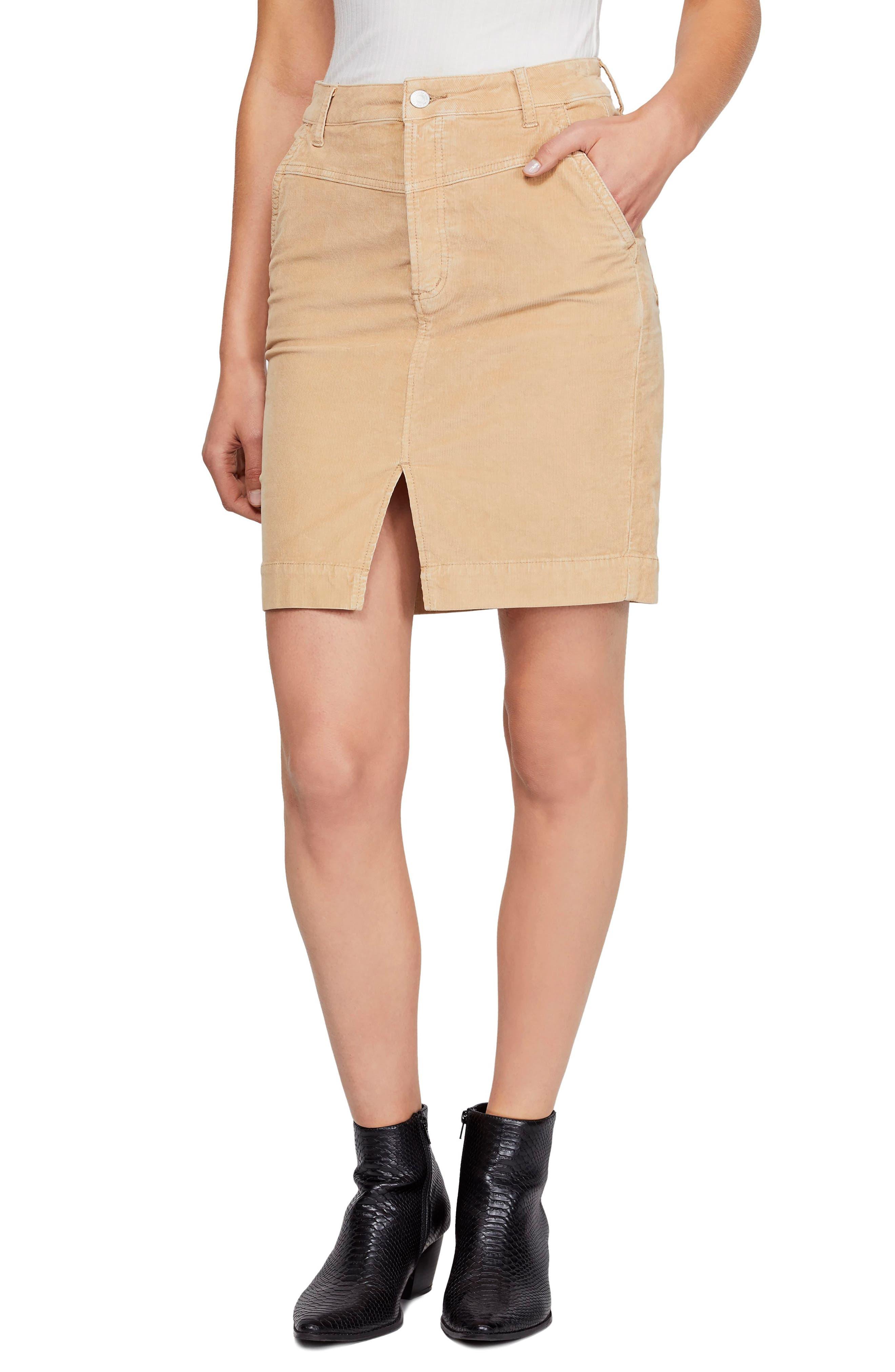 Free People Rosemary Corduroy Pencil Skirt, 7 - Beige