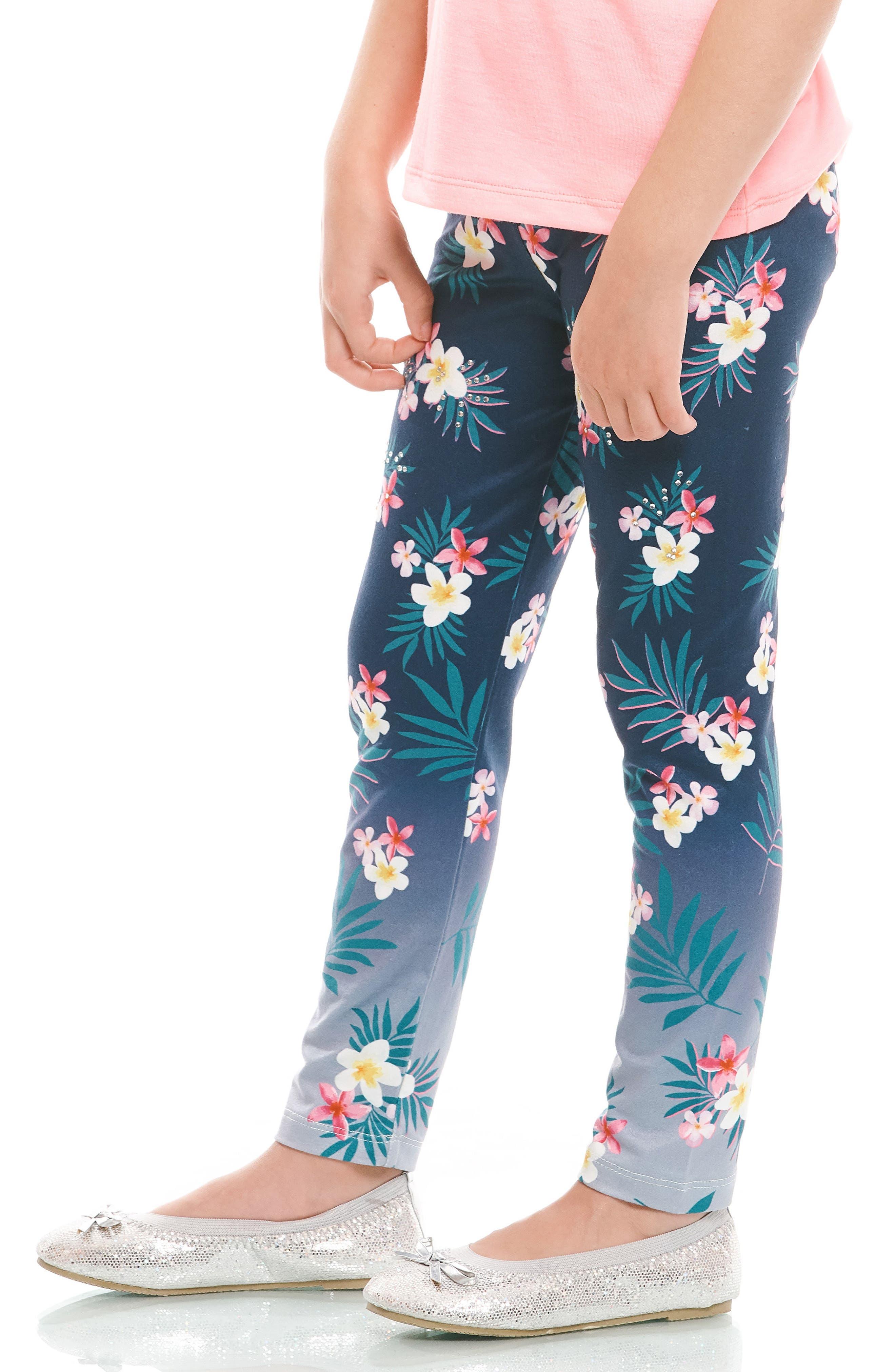Embellished Floral Print Leggings,                             Alternate thumbnail 3, color,                             418