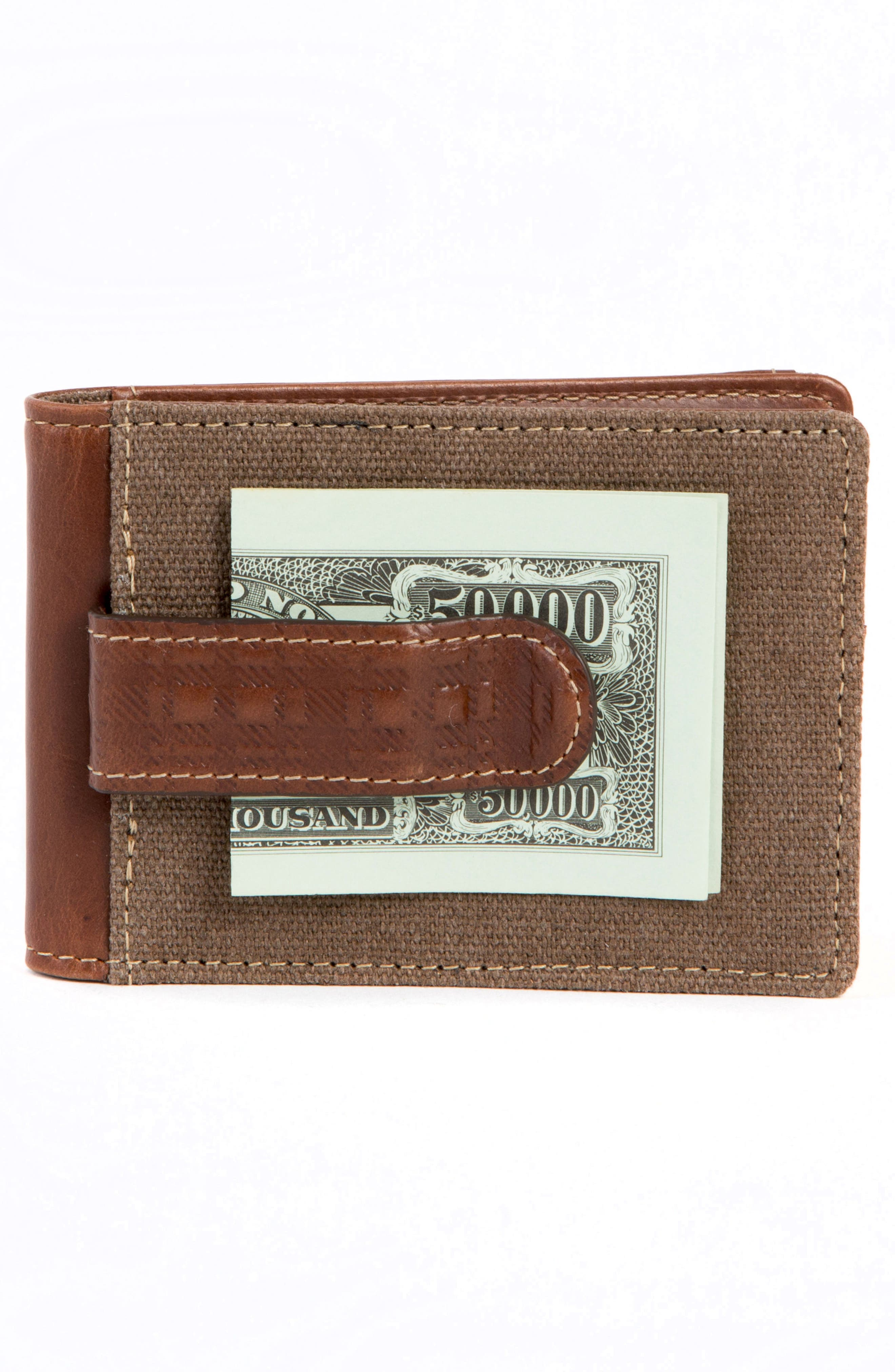 Bryant Bifold Money Clip Wallet,                             Alternate thumbnail 3, color,                             MAHOGANY/ HEATHER