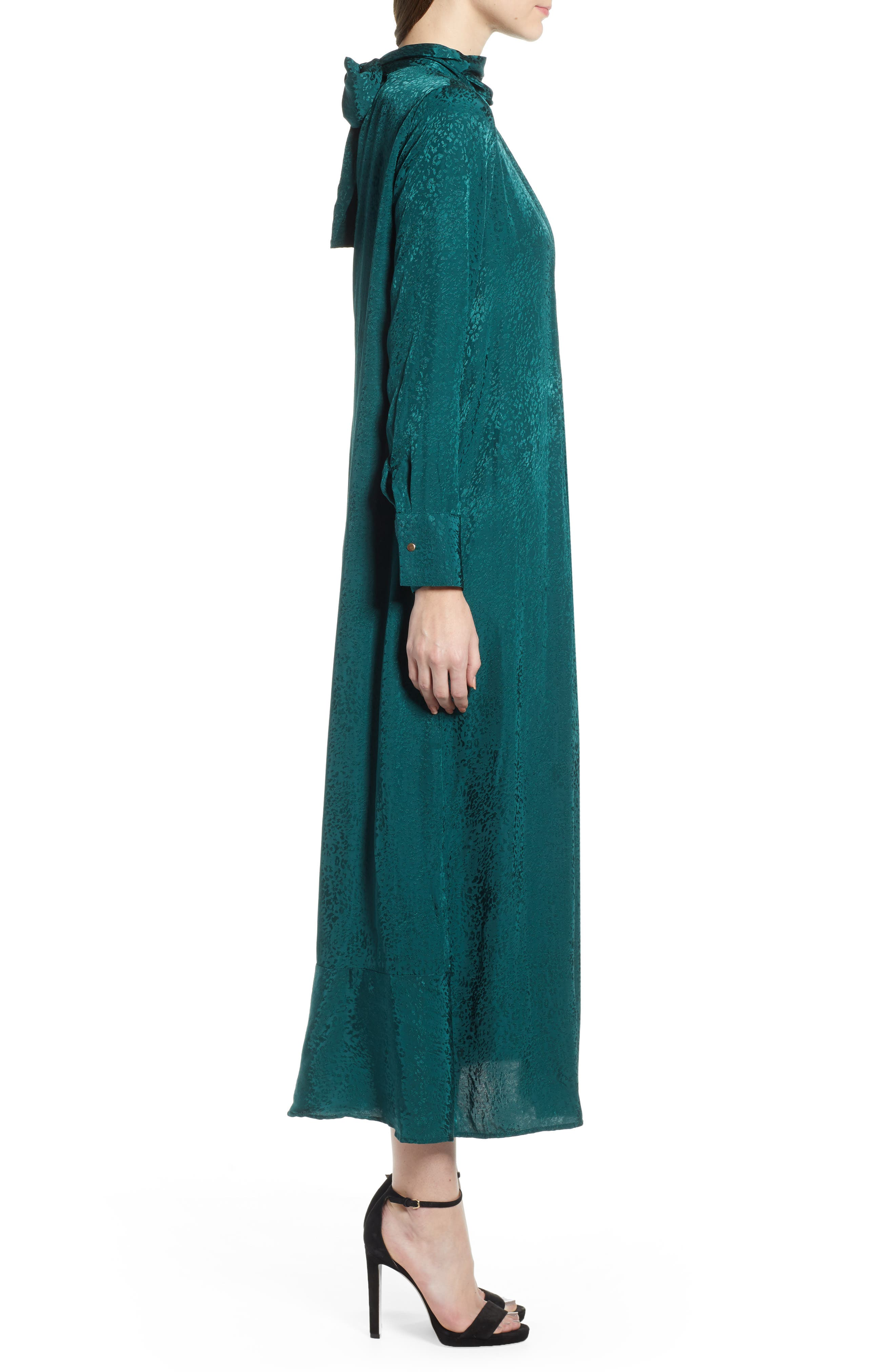 Jacquard Pintuck Satin Midi Dress,                             Alternate thumbnail 3, color,                             FOREST