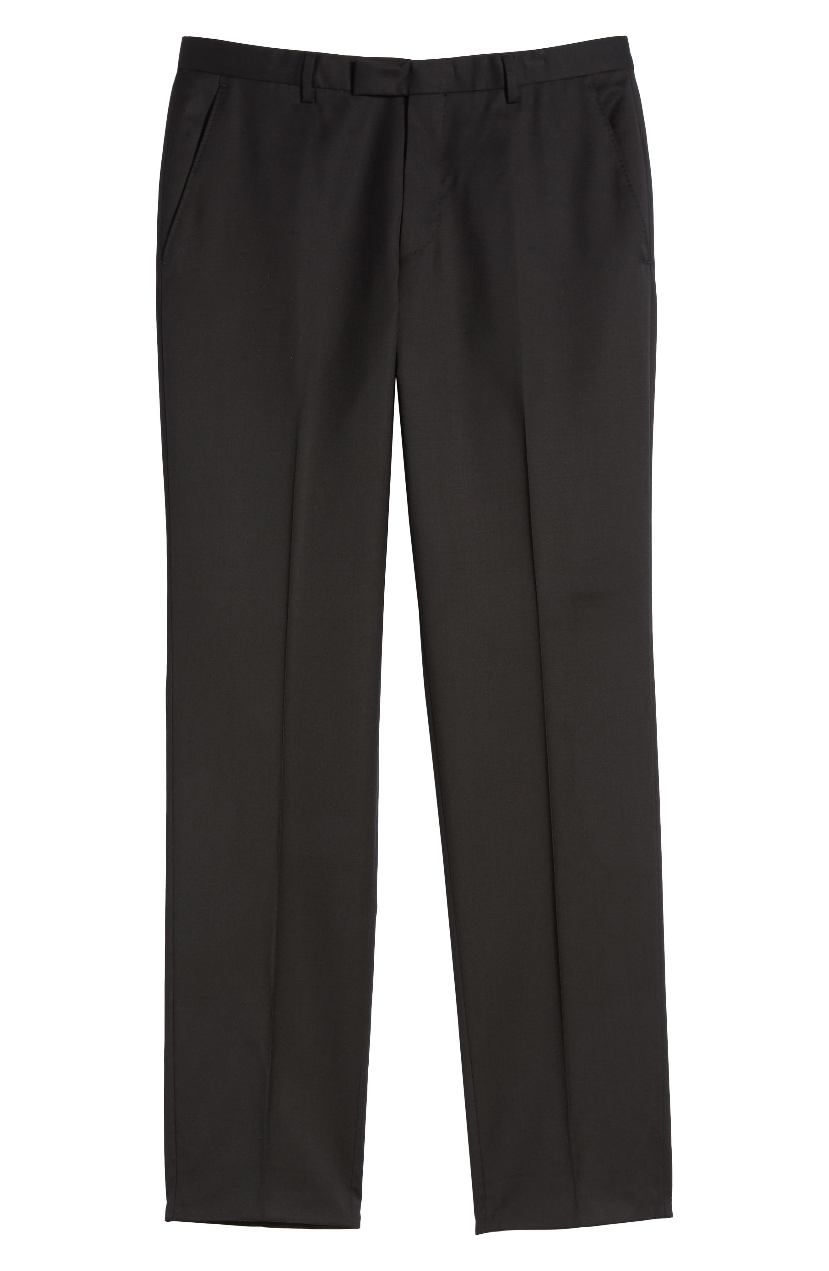 Lenon CYL Flat Front Solid Wool Trousers,                             Alternate thumbnail 6, color,                             BLACK