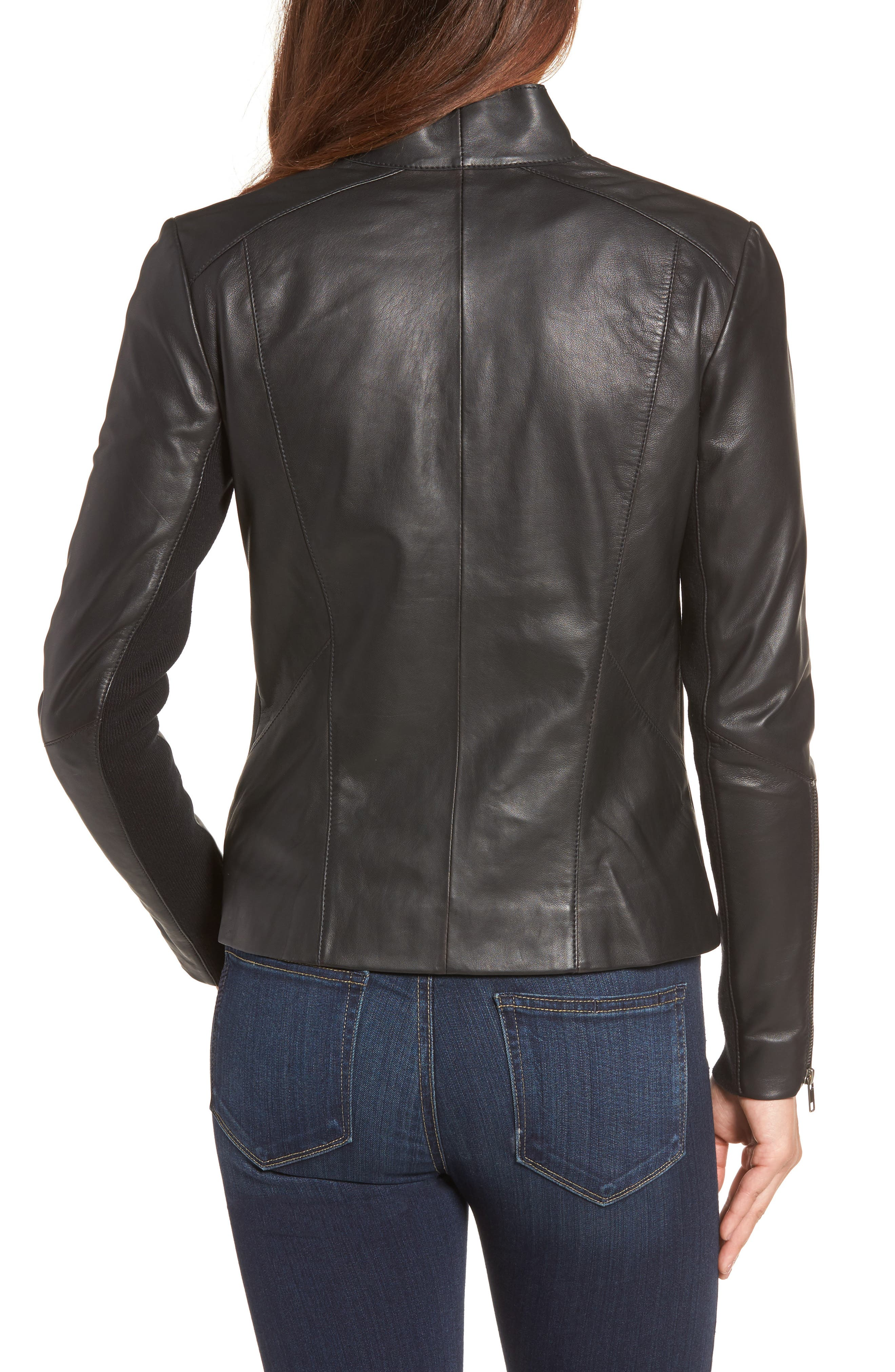 Asymmetrical Leather Jacket,                             Alternate thumbnail 3, color,