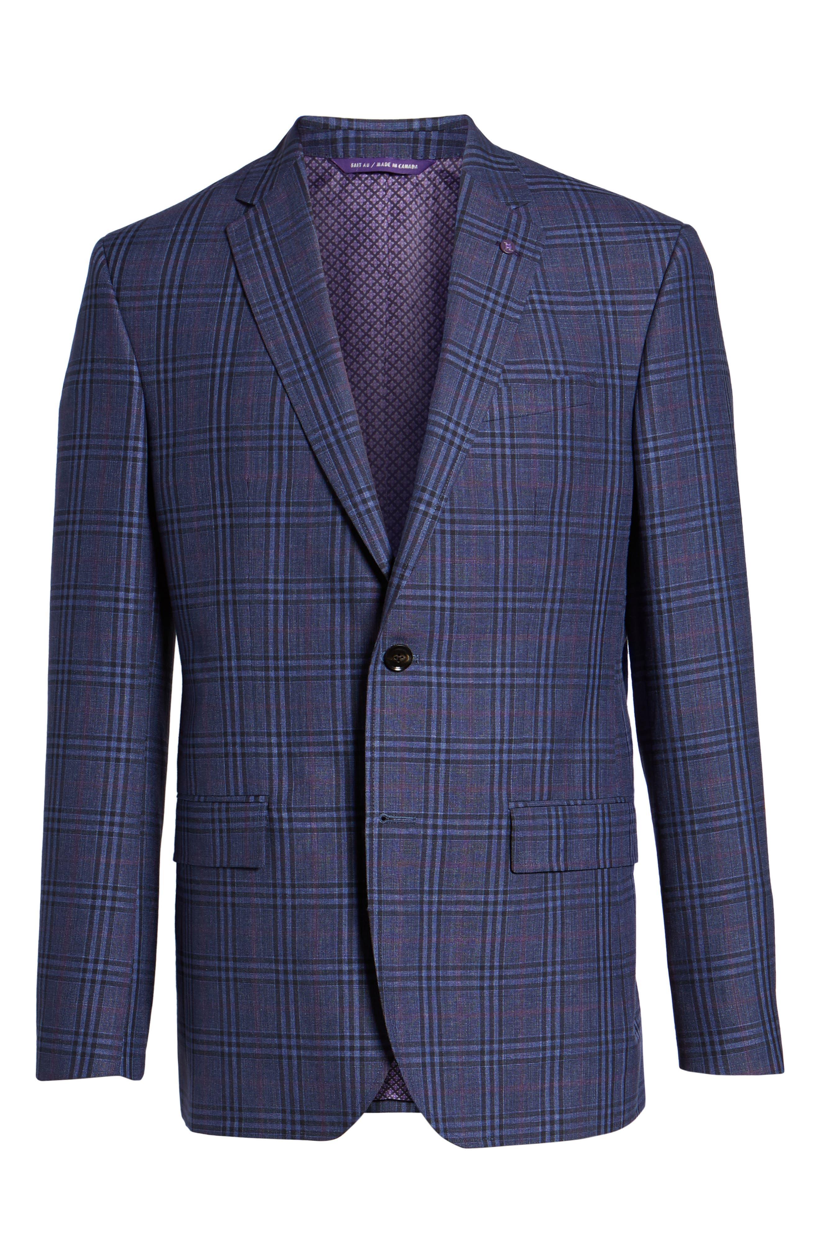 Jay Trim Fit Plaid Wool & Linen Sport Coat,                             Alternate thumbnail 5, color,                             400