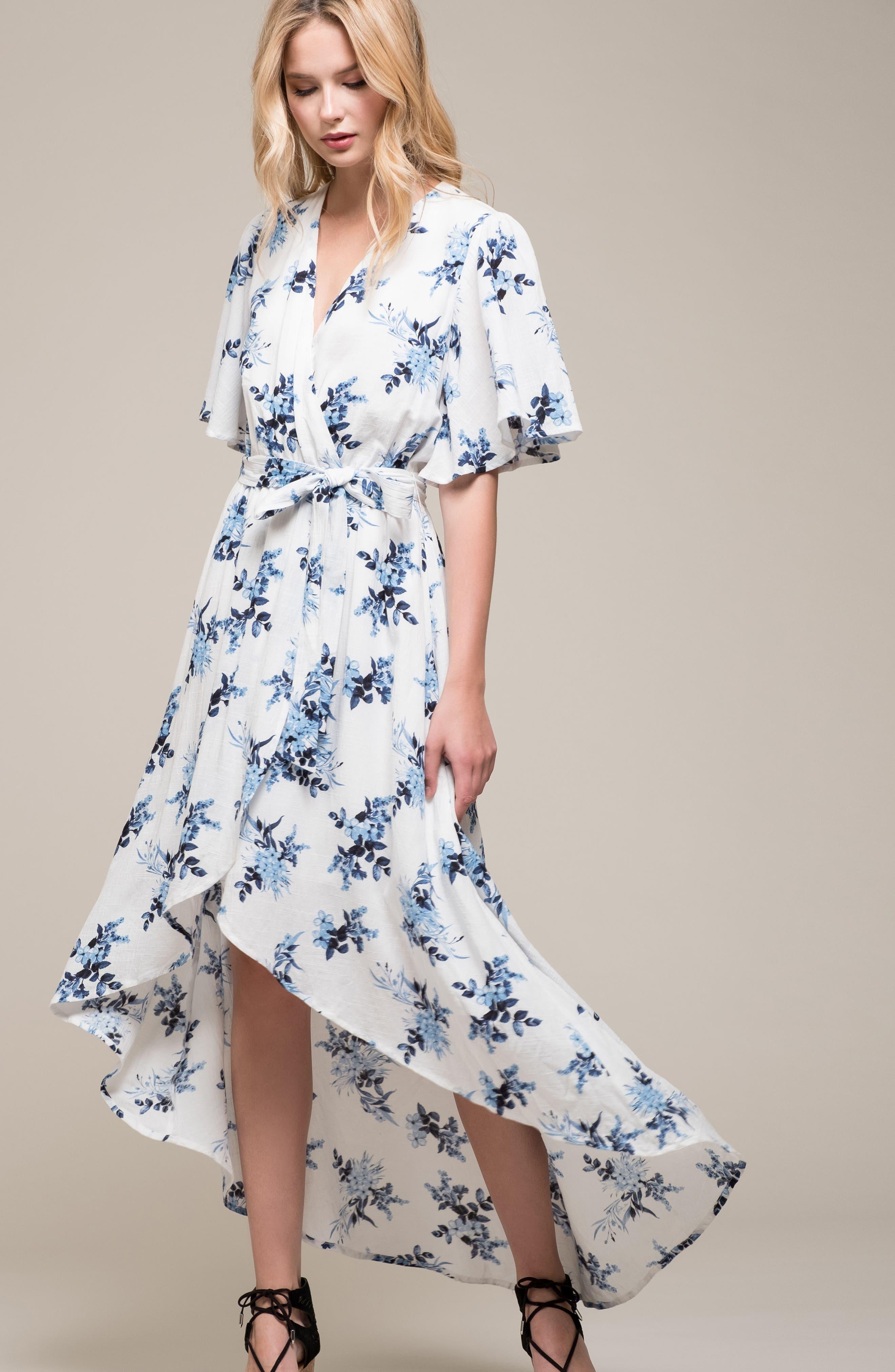 Floral Midi Wrap Dress,                             Alternate thumbnail 7, color,