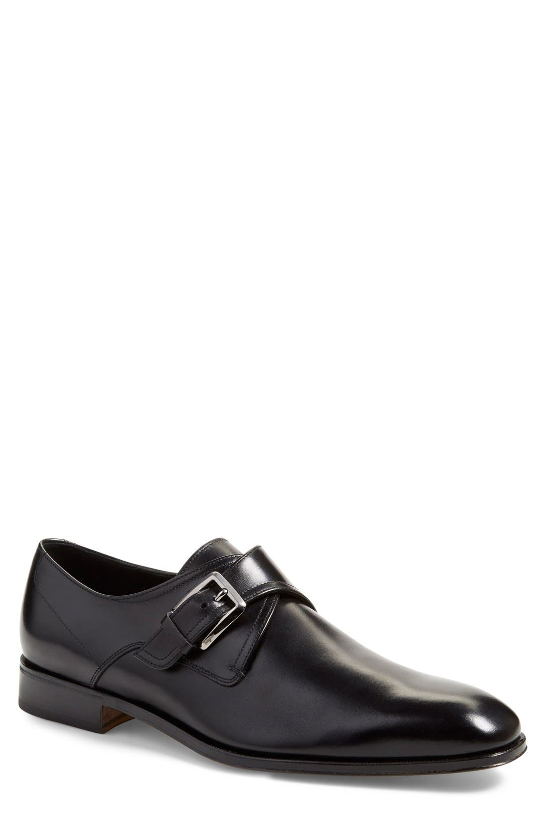 Single Monk Strap Shoe,                         Main,                         color, 001
