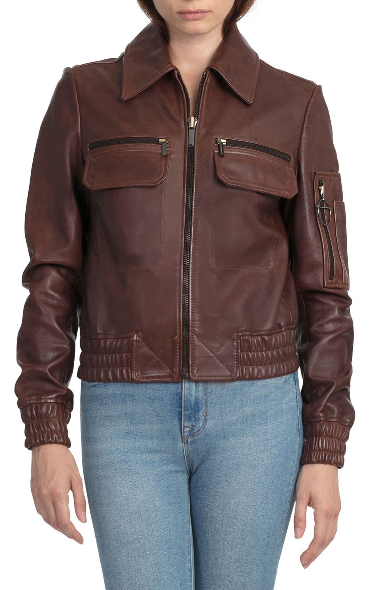 BAGATELLE.CITY The Aviator Leather Jacket,                             Alternate thumbnail 5, color,                             201