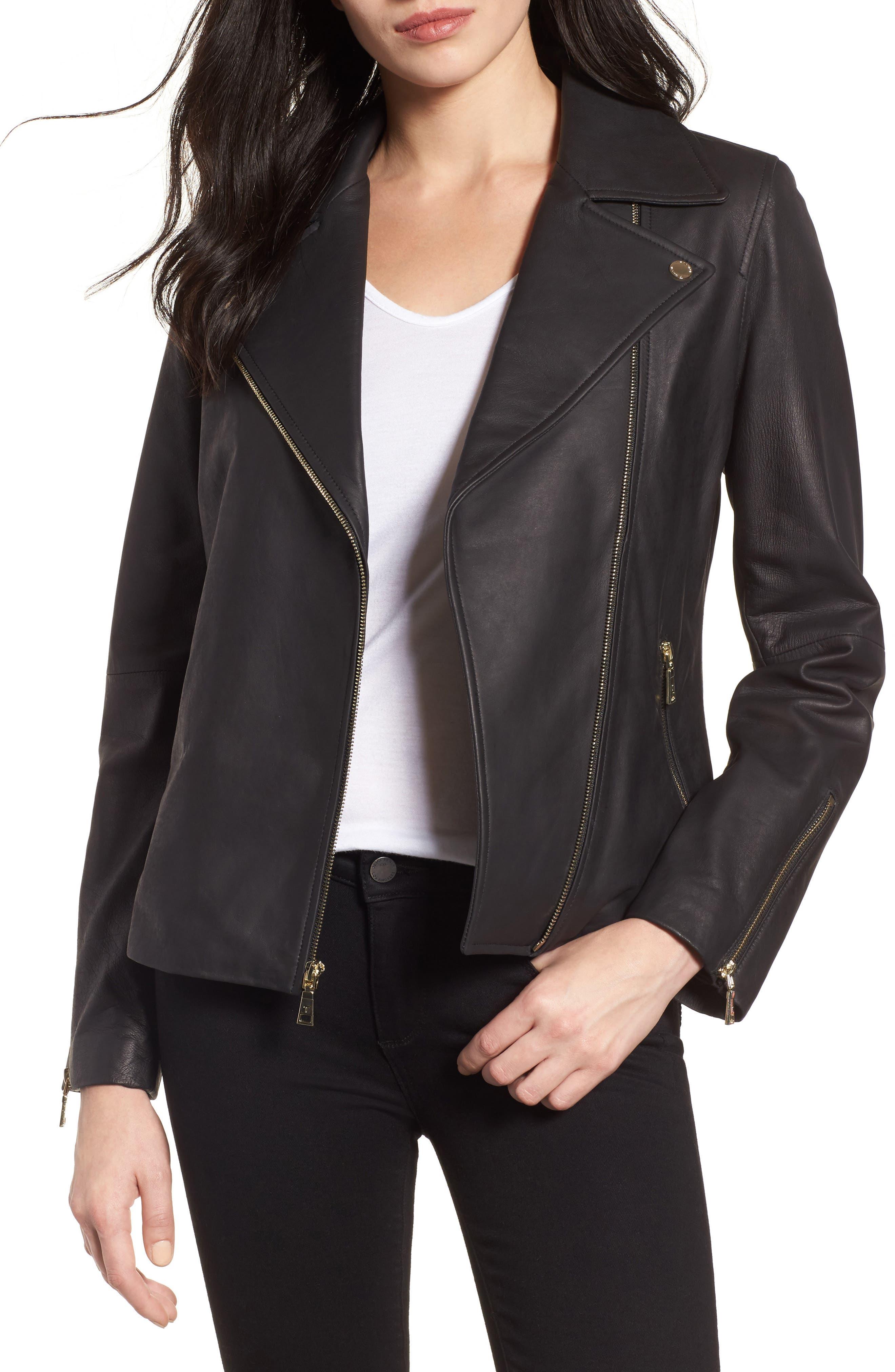 Skylar Leather Moto Jacket,                             Main thumbnail 1, color,                             001