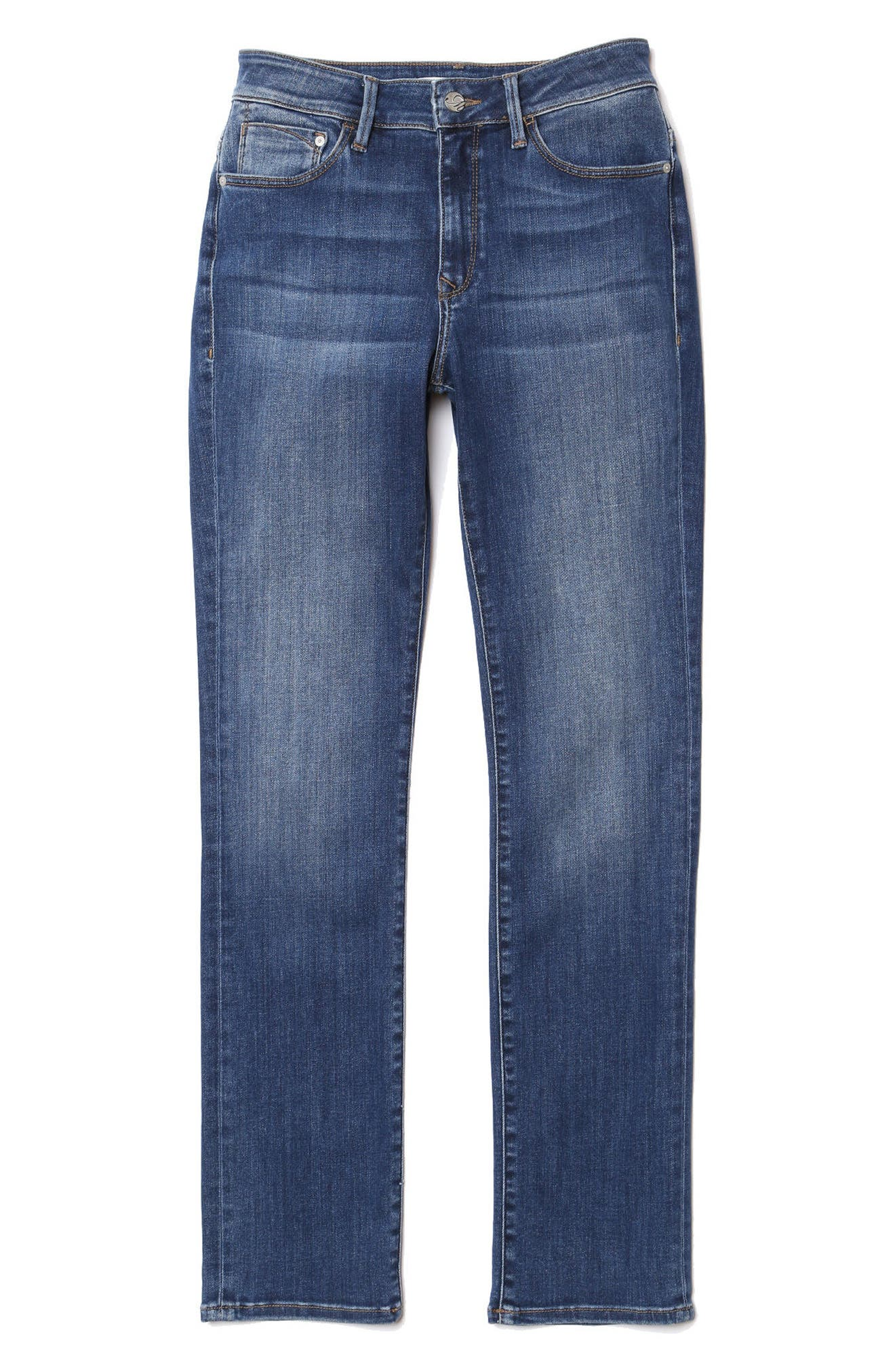 Kendra Straight Leg Jeans,                             Alternate thumbnail 4, color,                             INDIGO SUPER SOFT