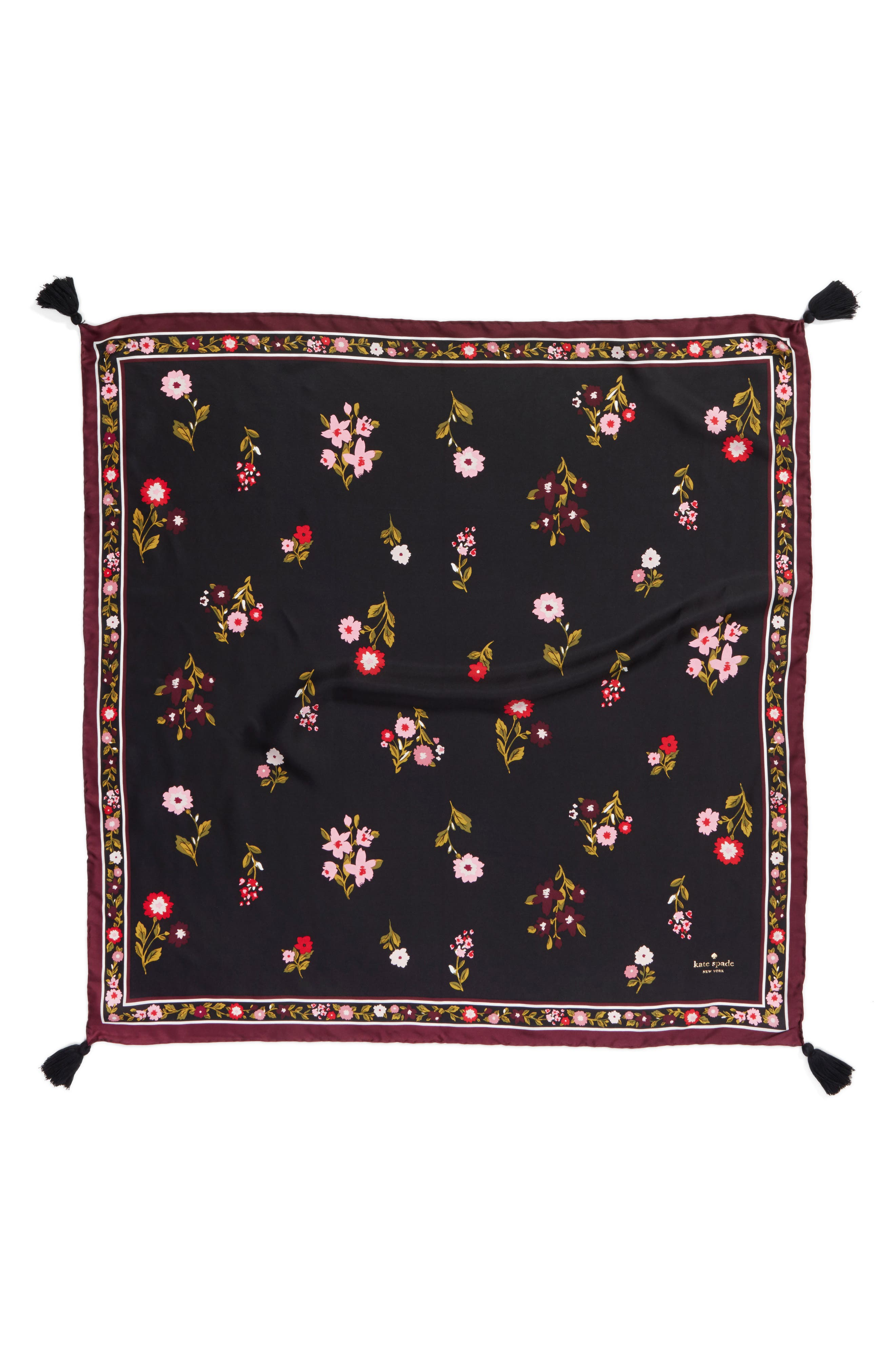 in bloom square silk scarf,                             Alternate thumbnail 3, color,                             001