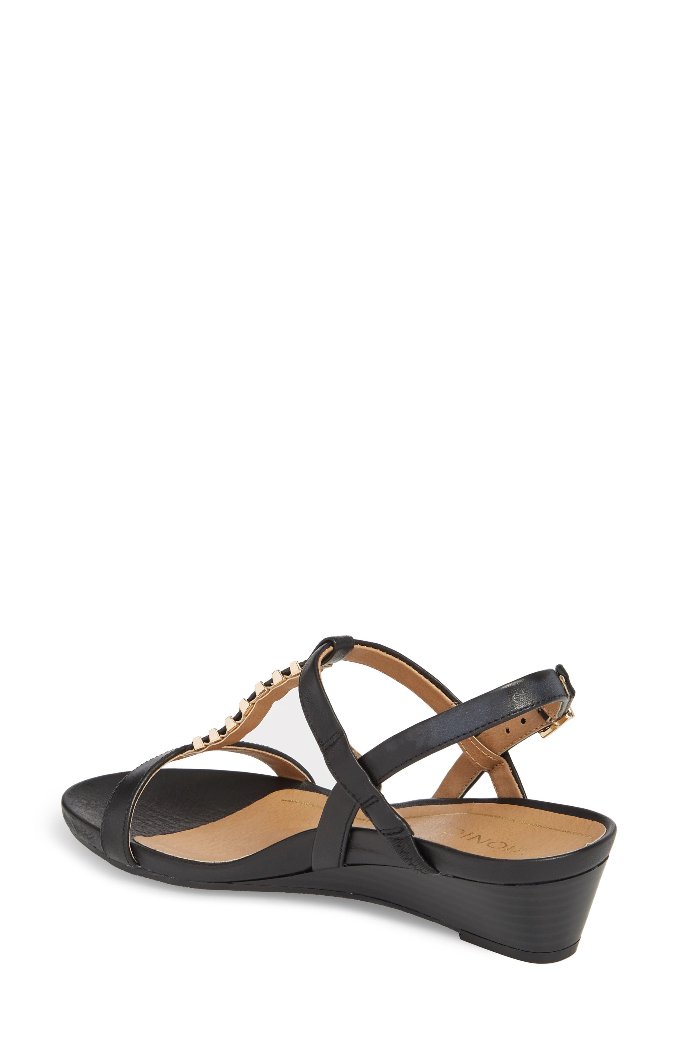 VIONIC,                             Cali T-Strap Wedge Sandal,                             Alternate thumbnail 2, color,                             001