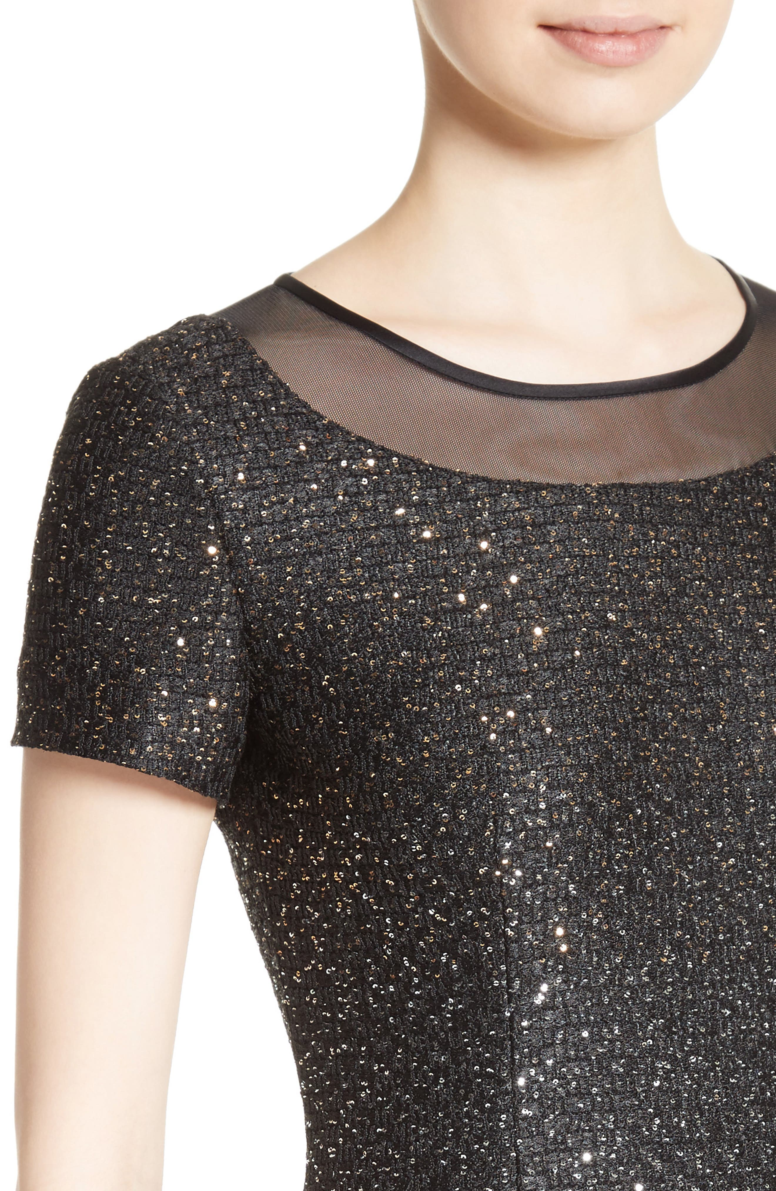 Pranay Sequin Knit Sheath Dress,                             Alternate thumbnail 4, color,                             001