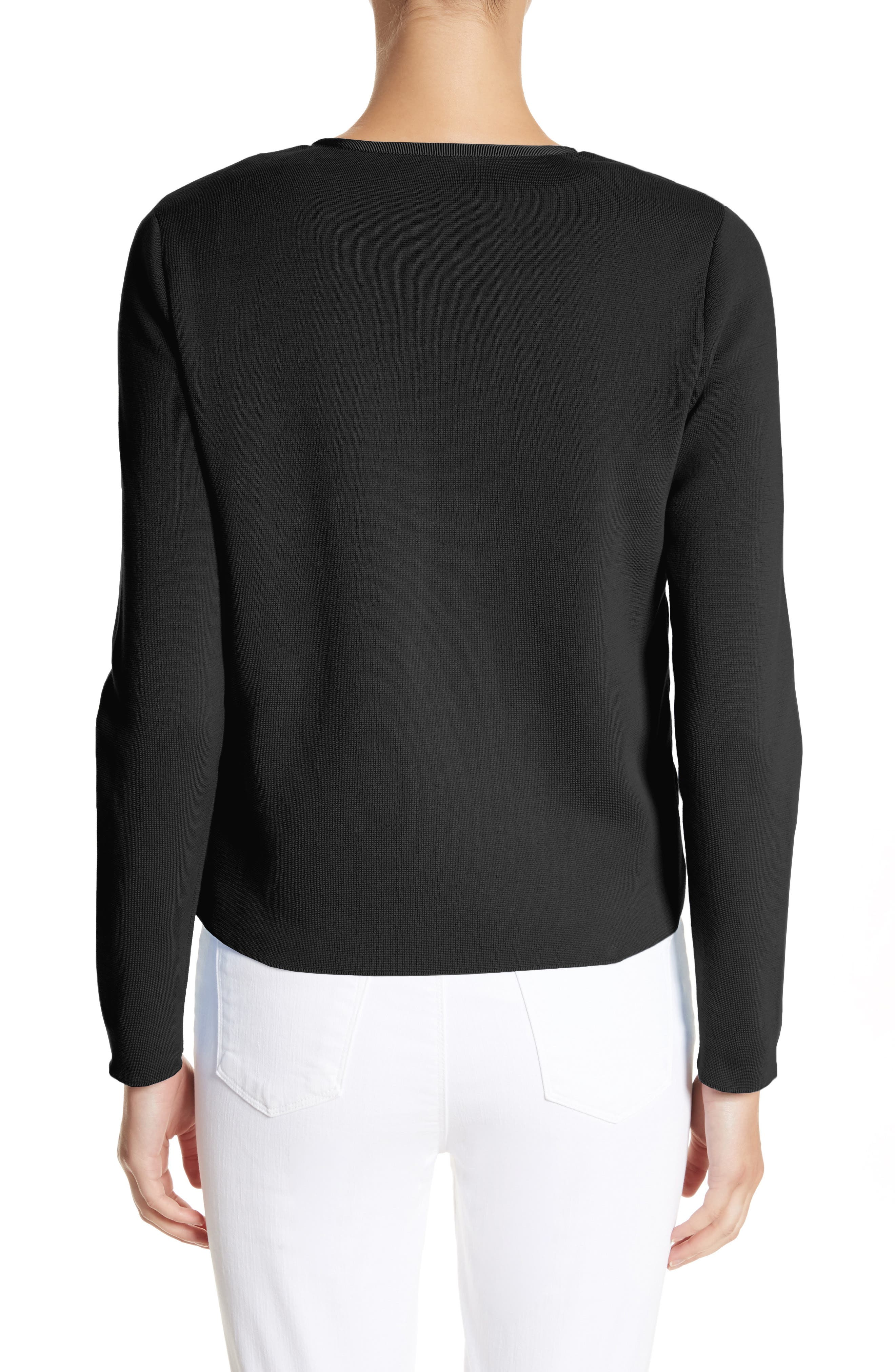 Maglia Quilted Down Front Tricot Cardigan,                             Alternate thumbnail 2, color,                             BLACK