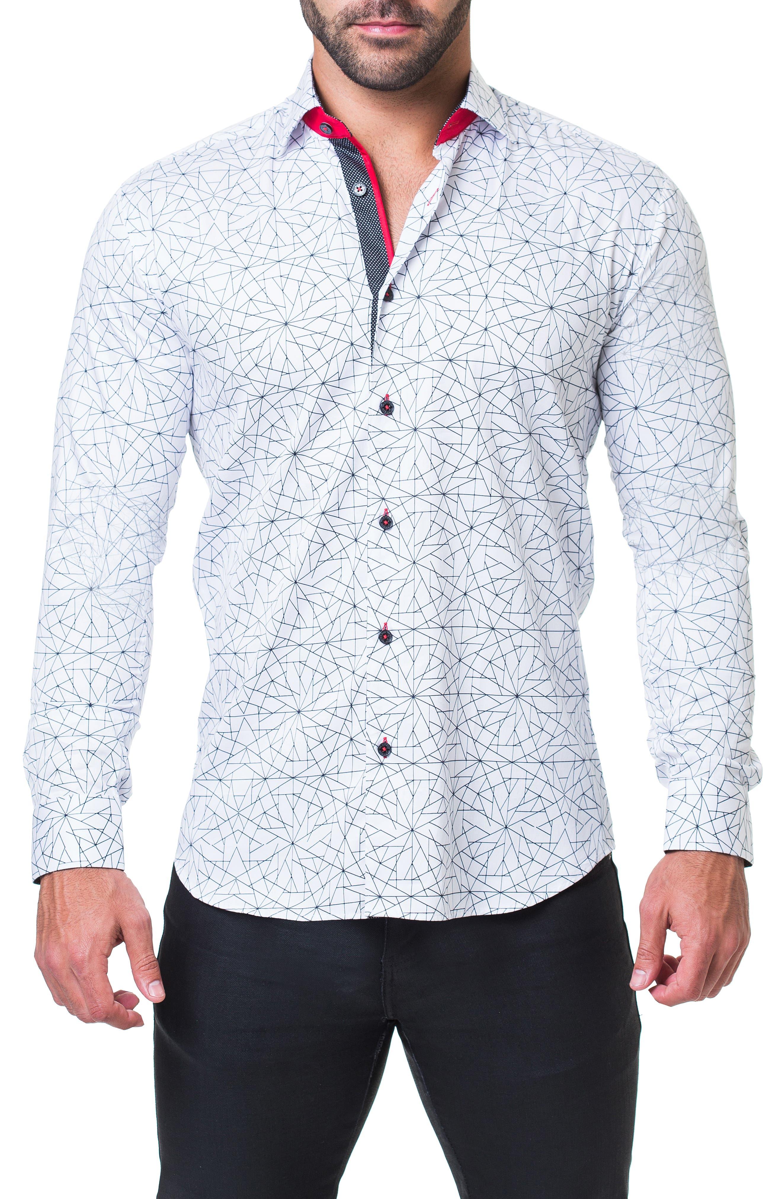 Fibonacci Geometric Regular Fit Print Sport Shirt,                             Main thumbnail 1, color,                             WHITE