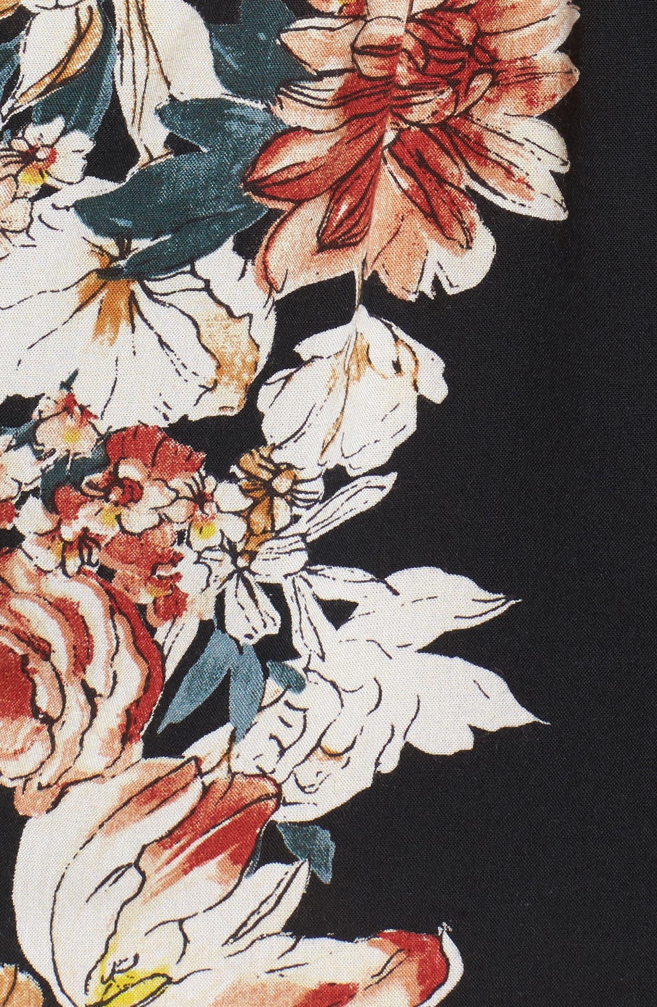 Floral Print Surplice Romper,                             Alternate thumbnail 5, color,                             BLACK/ RUST