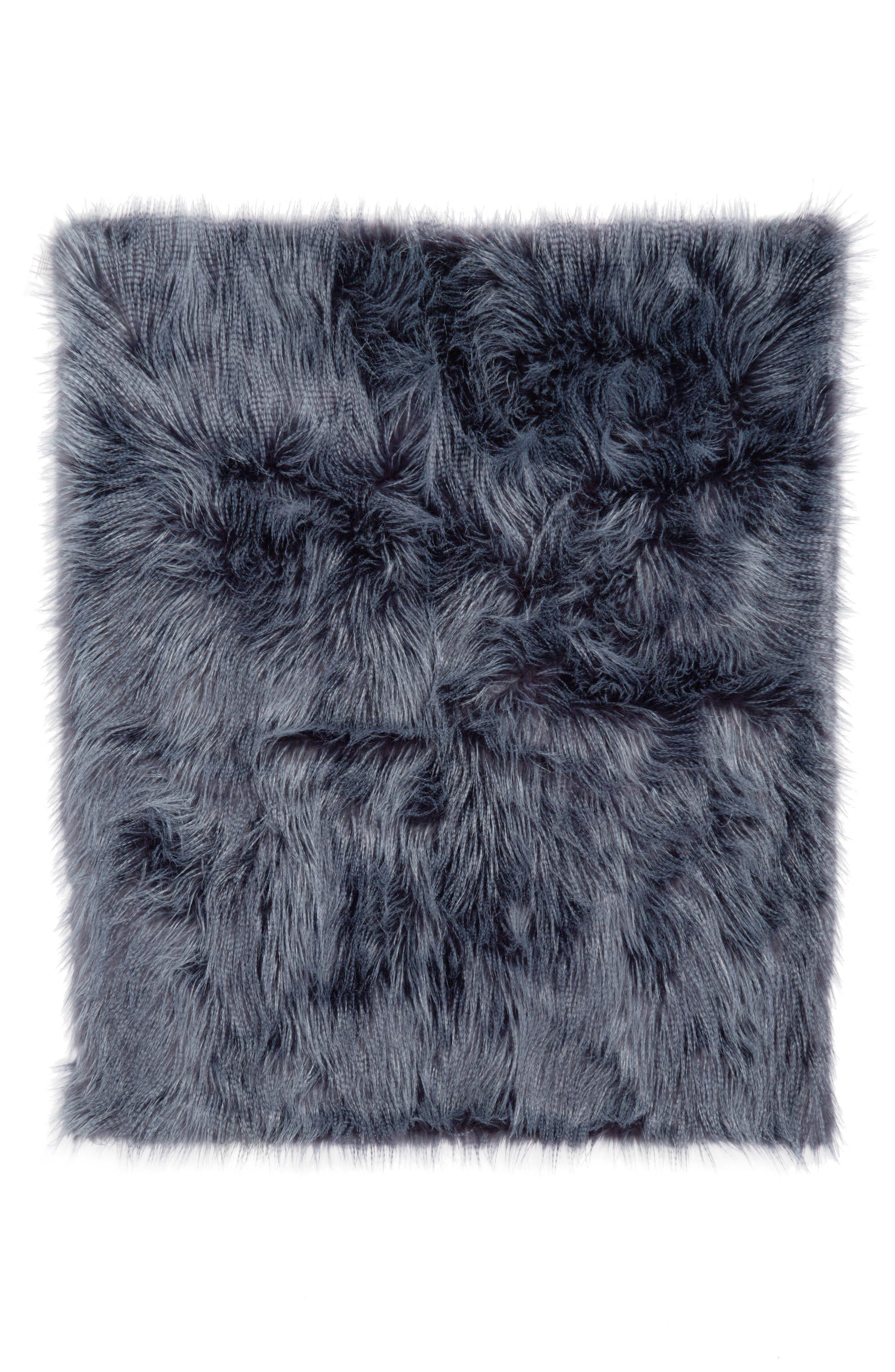 Fauna Faux Fur Throw Blanket,                         Main,                         color, 410
