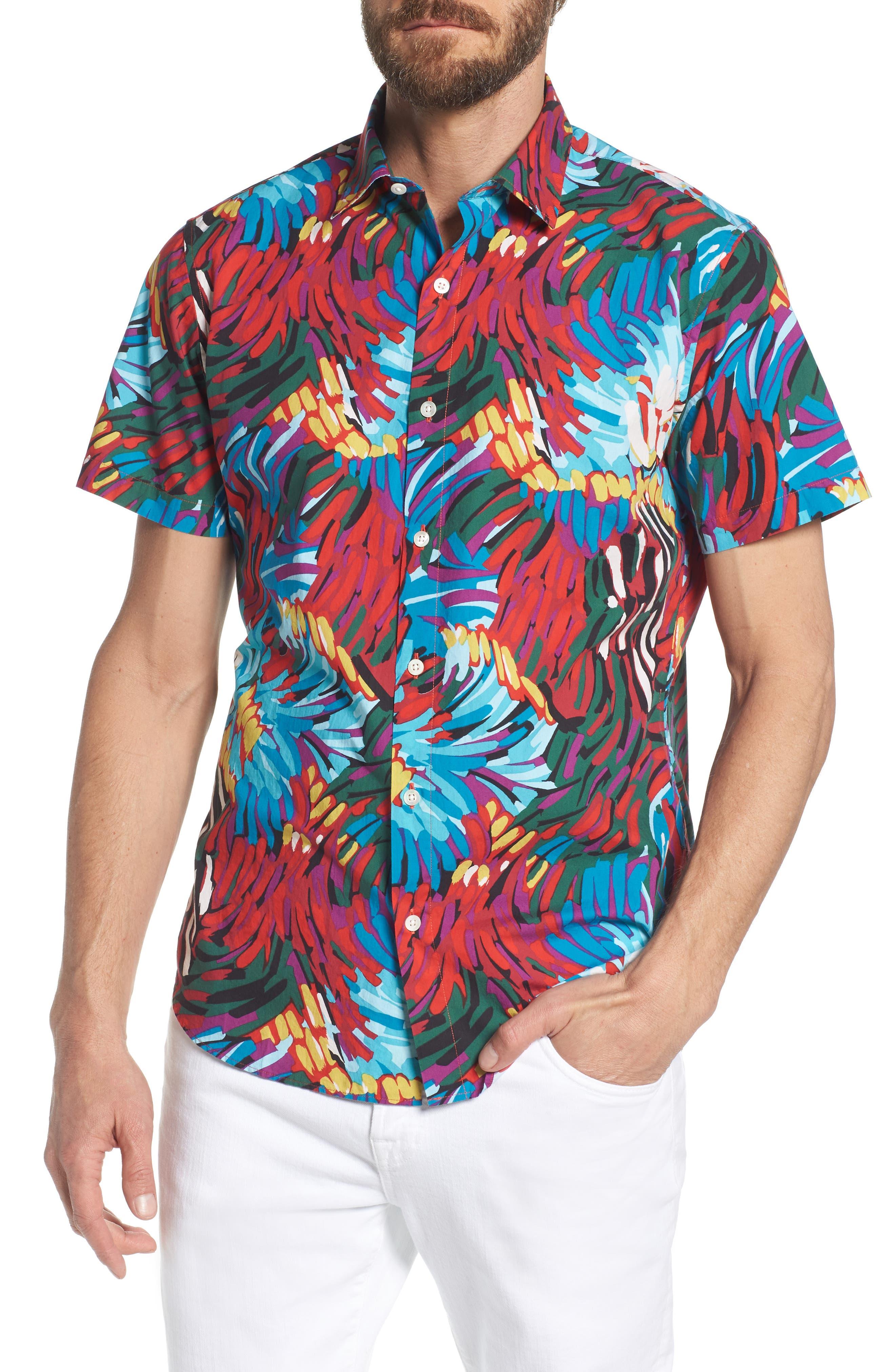 Premium Slim Fit Print Sport Shirt,                             Main thumbnail 1, color,