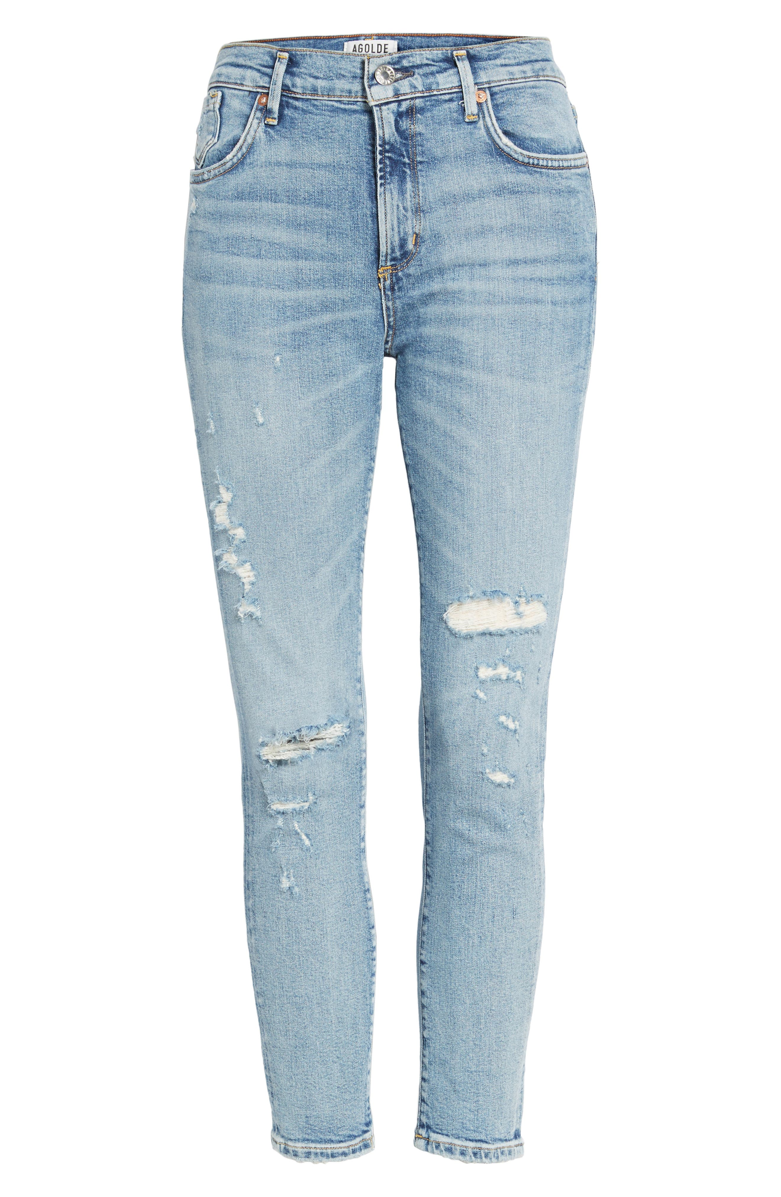 Sophie Distressed High Waist Skinny Jeans,                             Alternate thumbnail 6, color,                             OUTSIDER