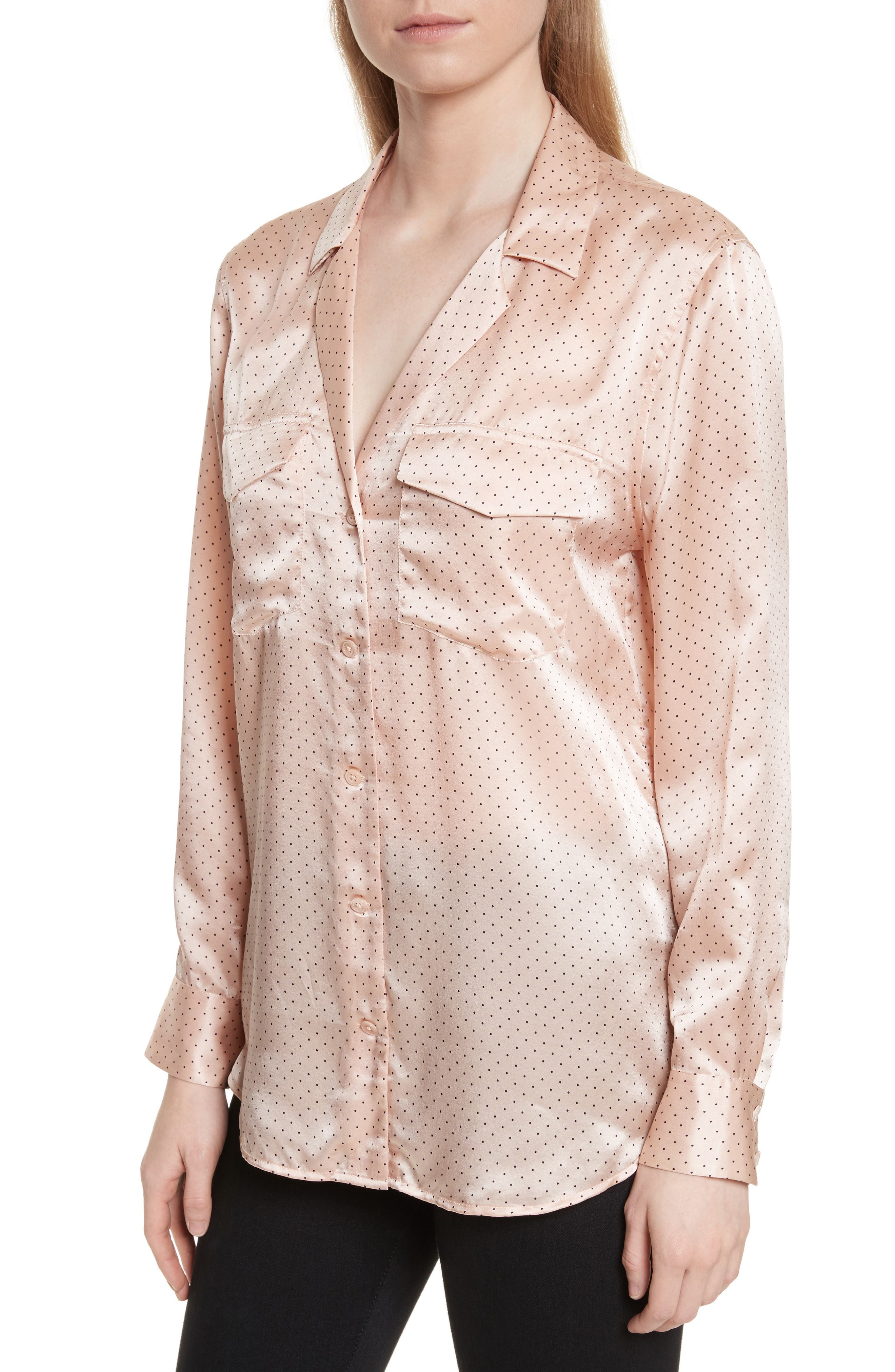 Ansley Dot Silk Shirt,                             Alternate thumbnail 4, color,