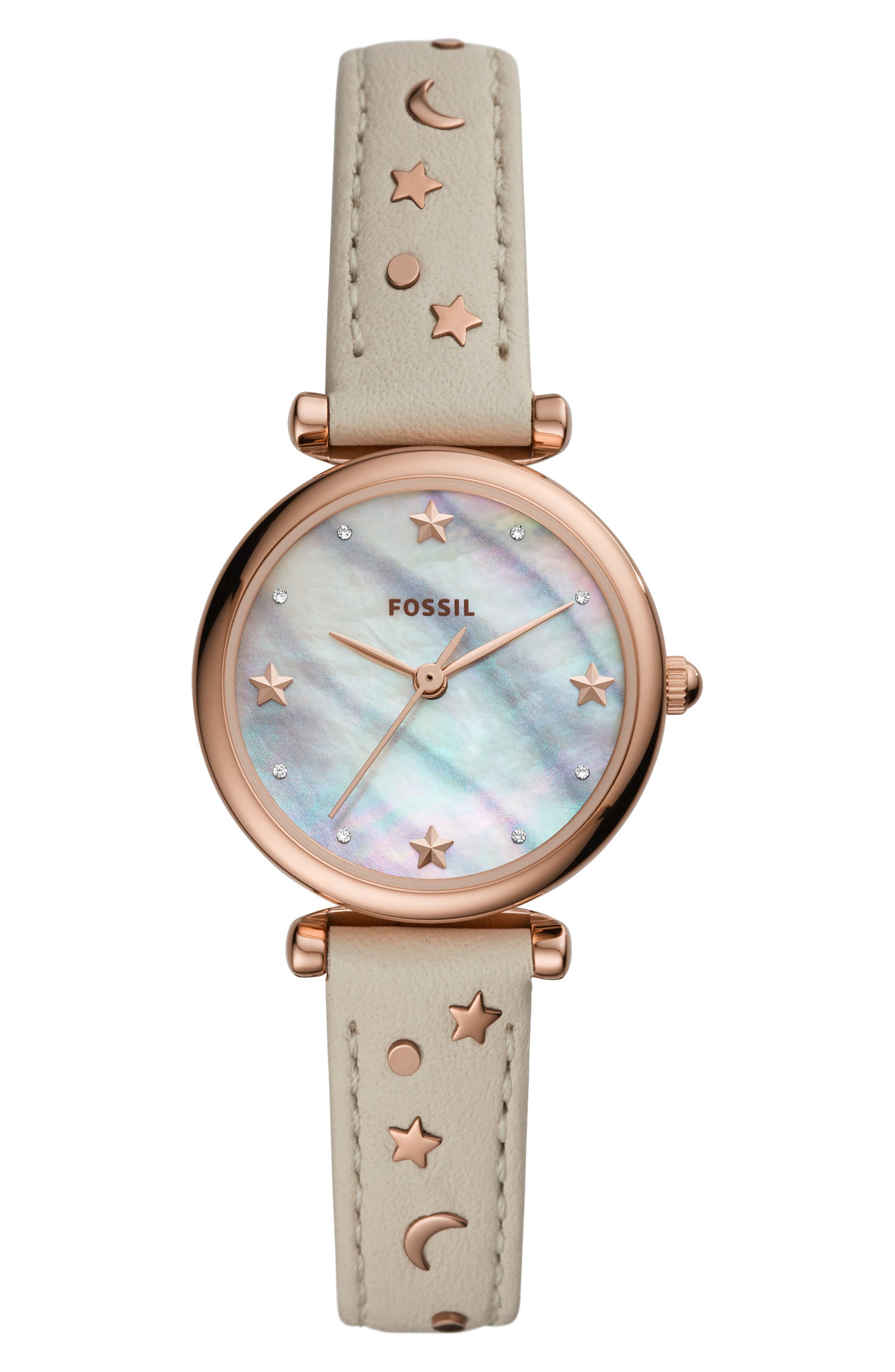 Mini Carlie Star Leather Strap Watch, 28mm, Main, color, WHITE/ MOP/ ROSE GOLD