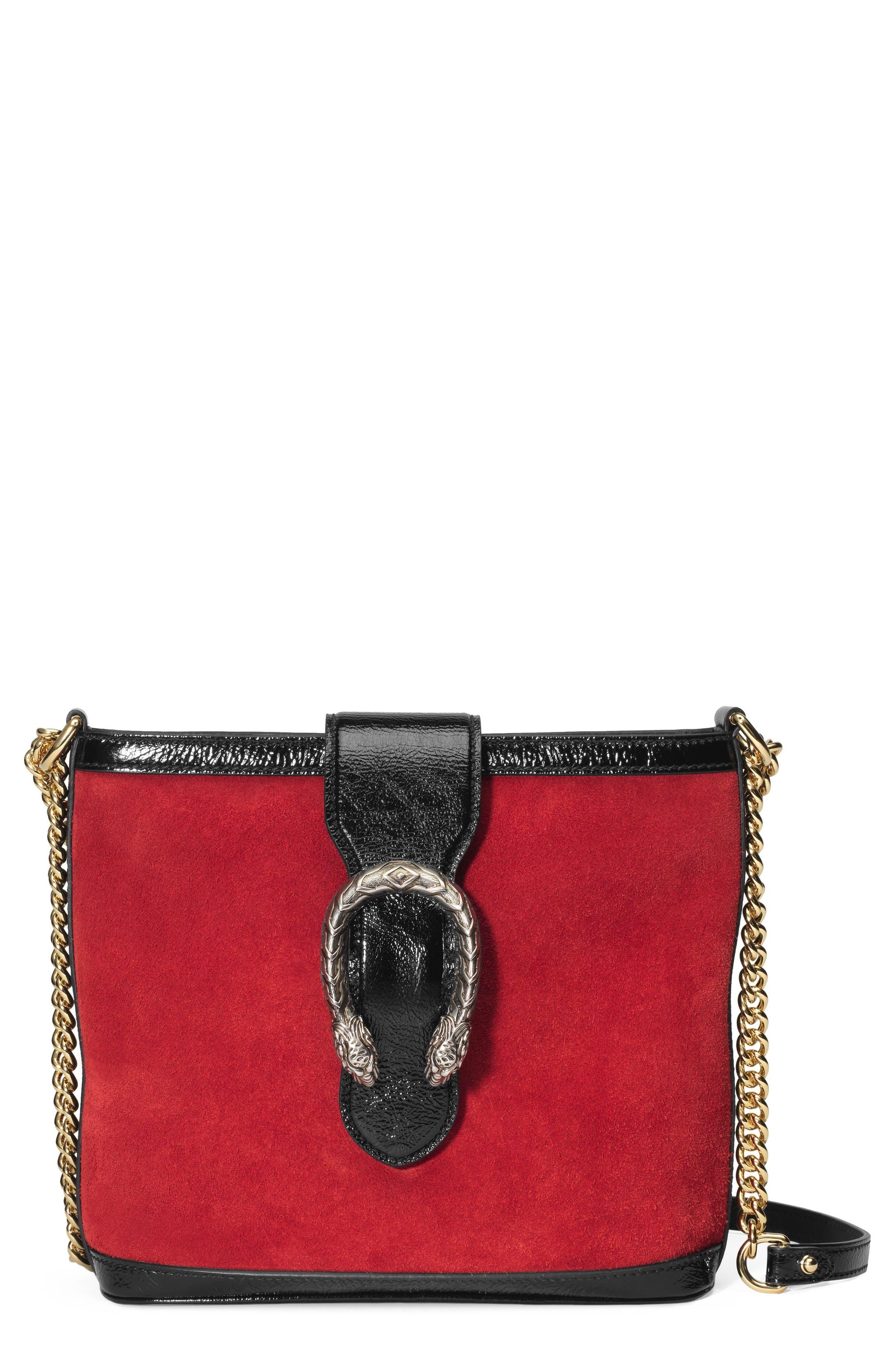 GUCCI,                             Medium Dionysus Suede Shoulder Bag,                             Main thumbnail 1, color,                             HIBISCUS RED/ NERO