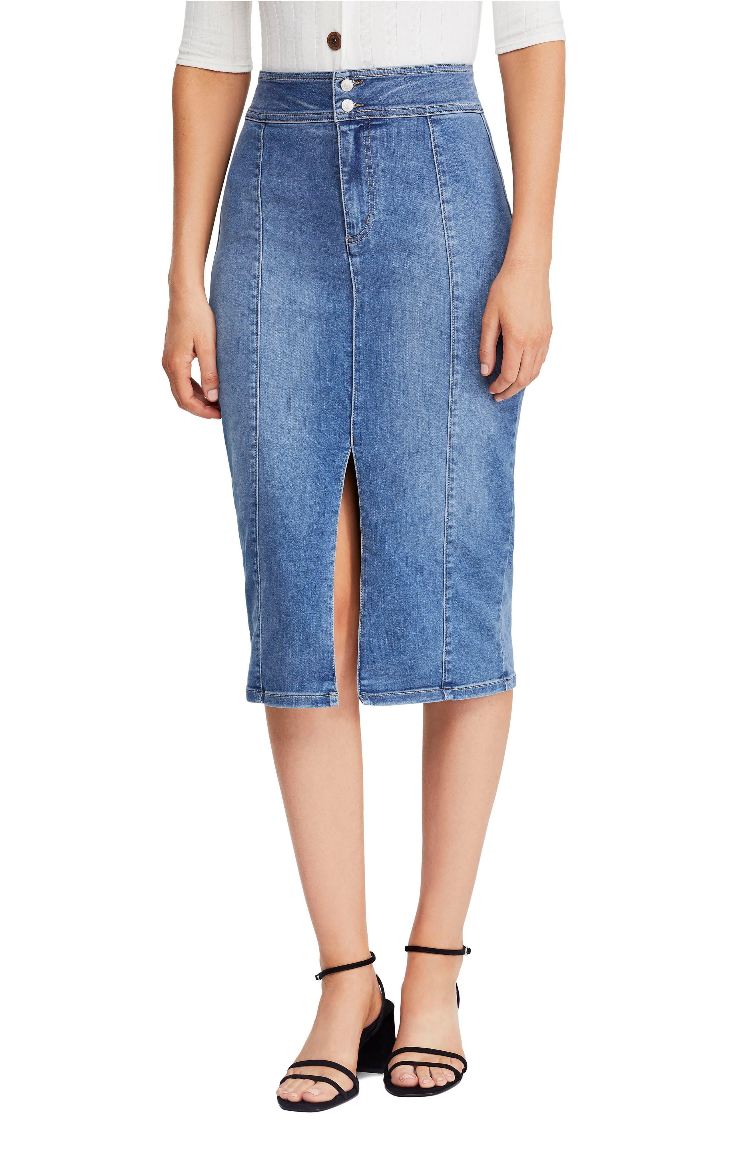 Free People Maddie Denim Midi Skirt, Blue
