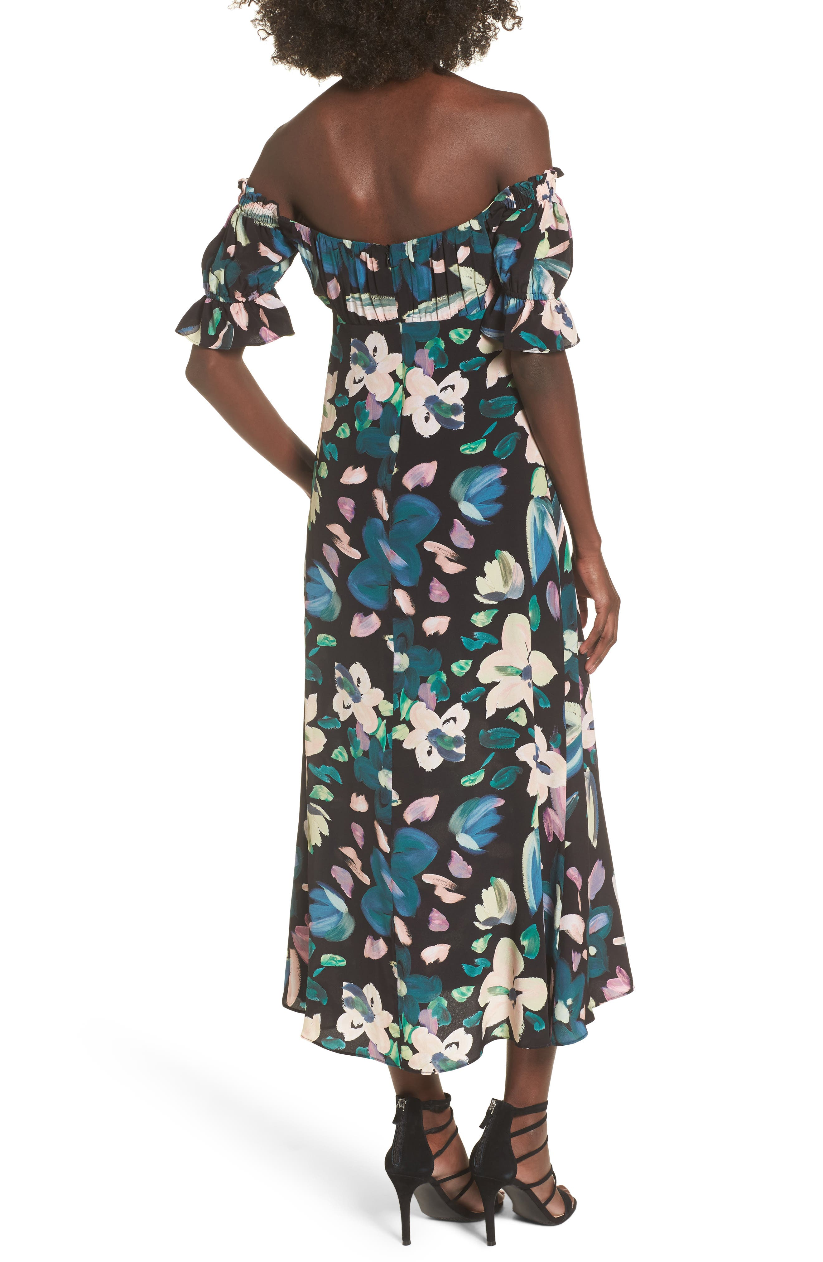Flores Off the Shoulder Midi Dress,                             Alternate thumbnail 2, color,                             001
