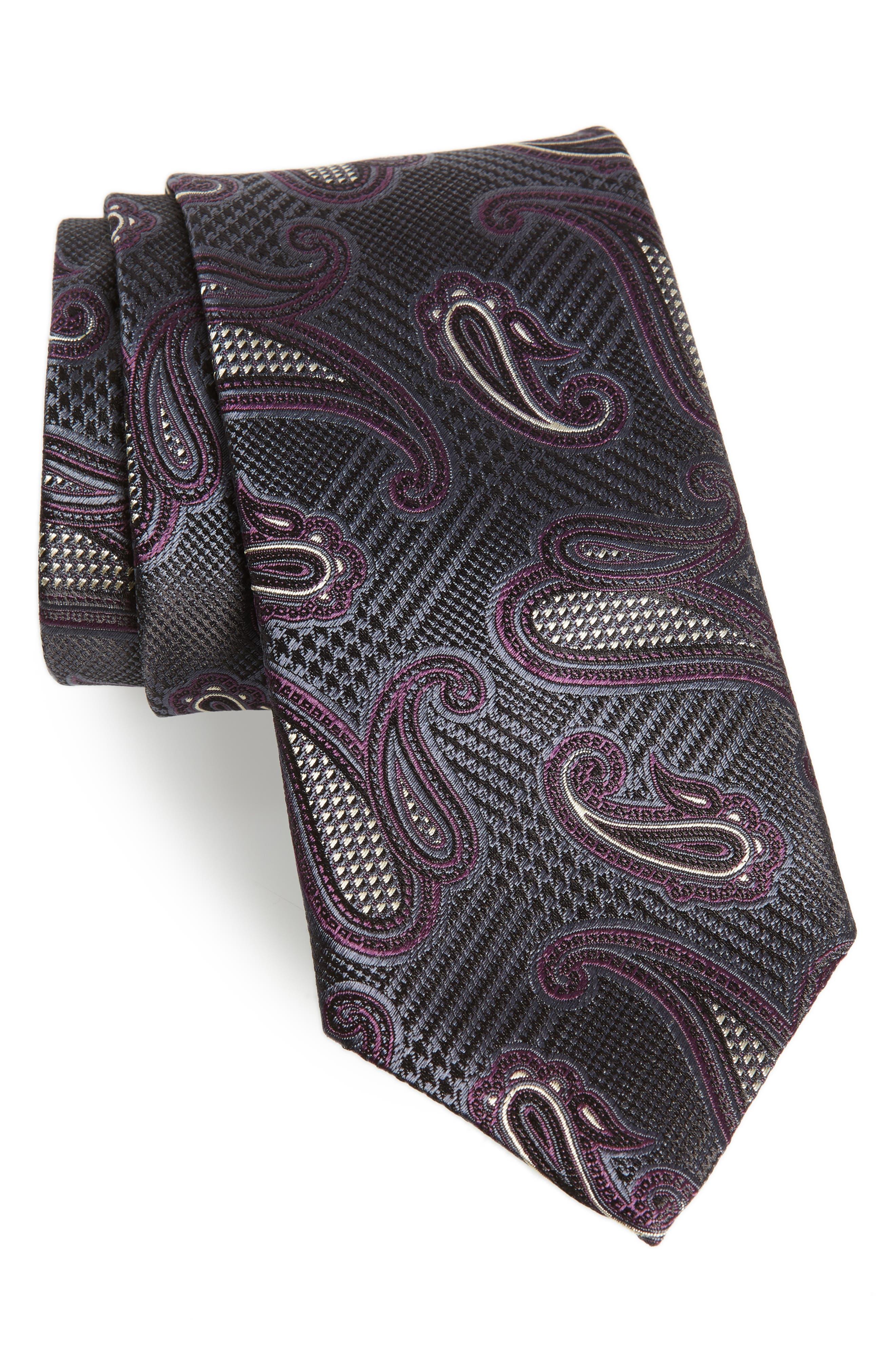 Paisley Silk Tie,                             Main thumbnail 1, color,                             GREY