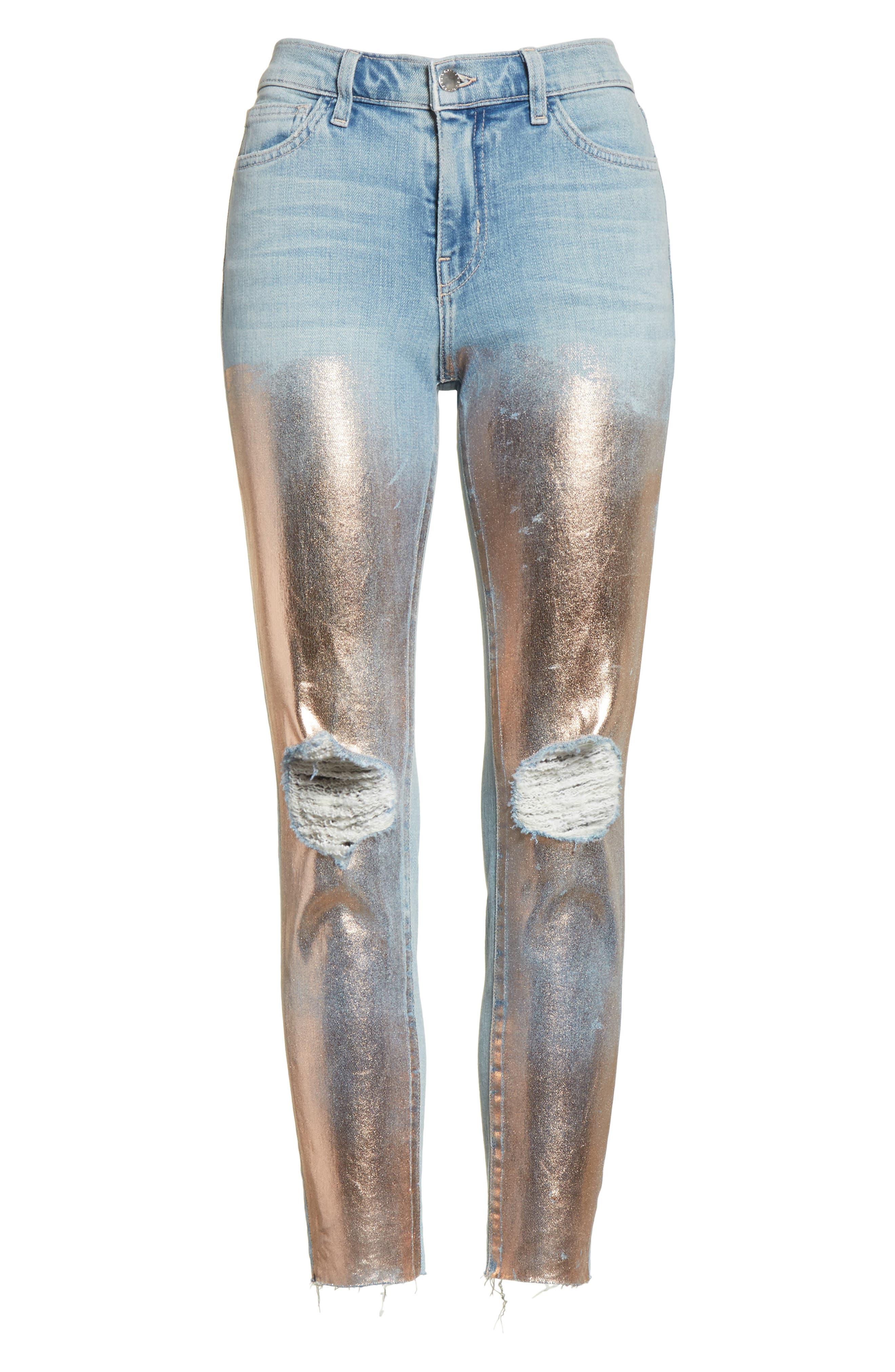 Marcelle Foil Crop Skinny Jeans,                             Alternate thumbnail 6, color,                             451