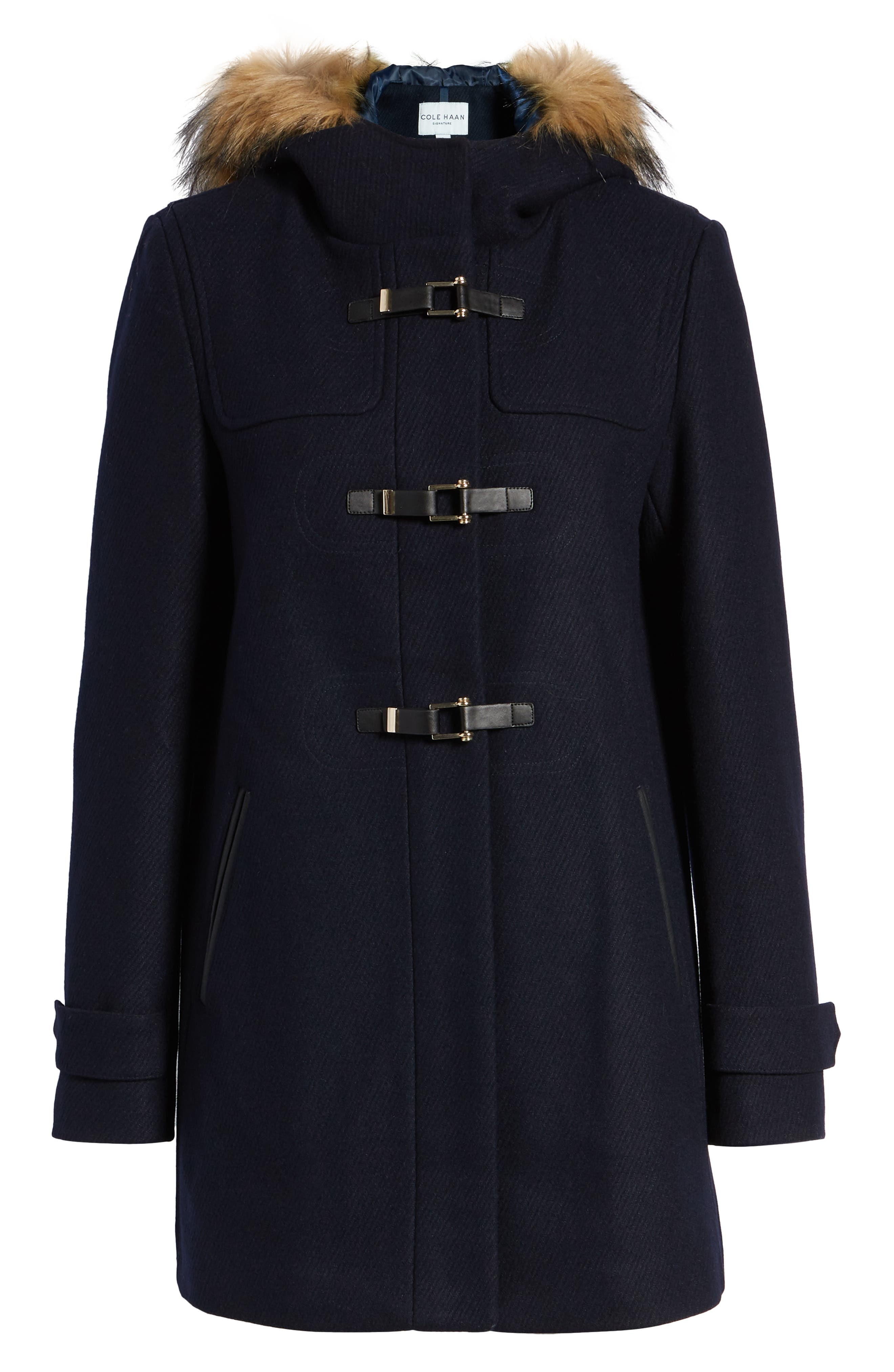Cole Haan Hooded Duffle Coat with Faux Fur Trim,                             Alternate thumbnail 6, color,                             MIDNIGHT