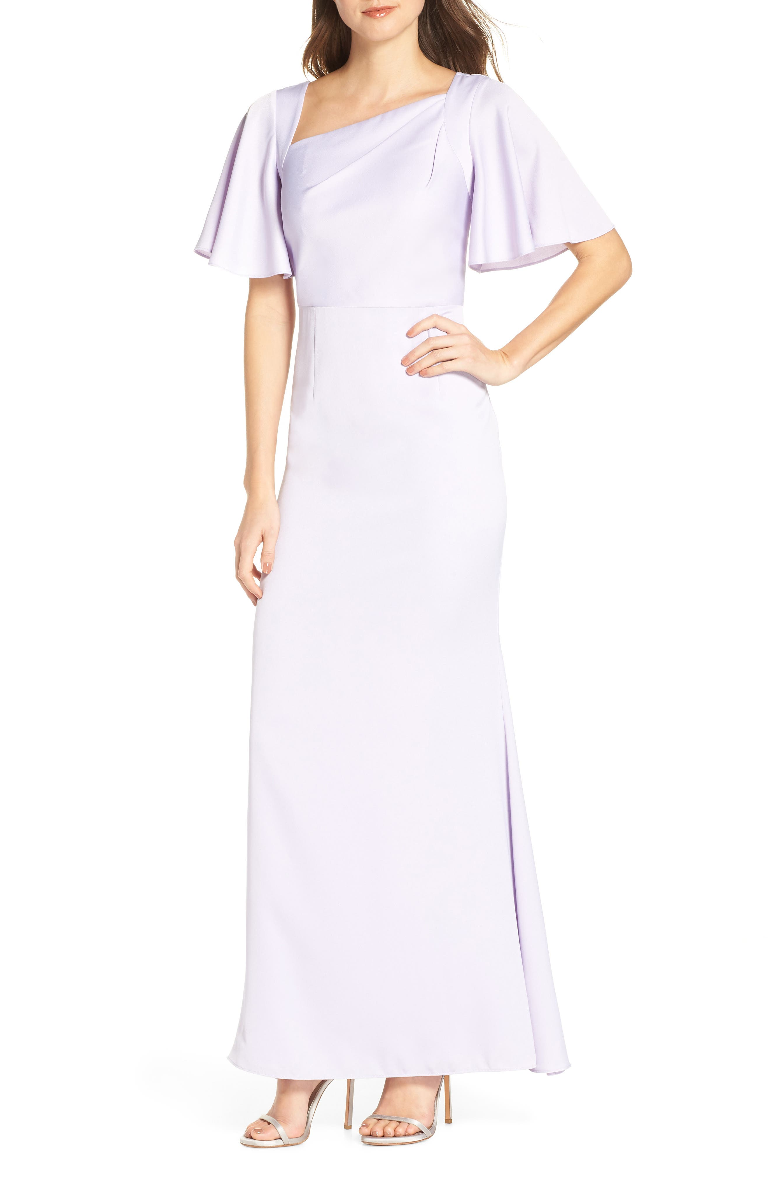 Asymmetrical Neckline Evening Dress,                             Main thumbnail 1, color,                             LILAC