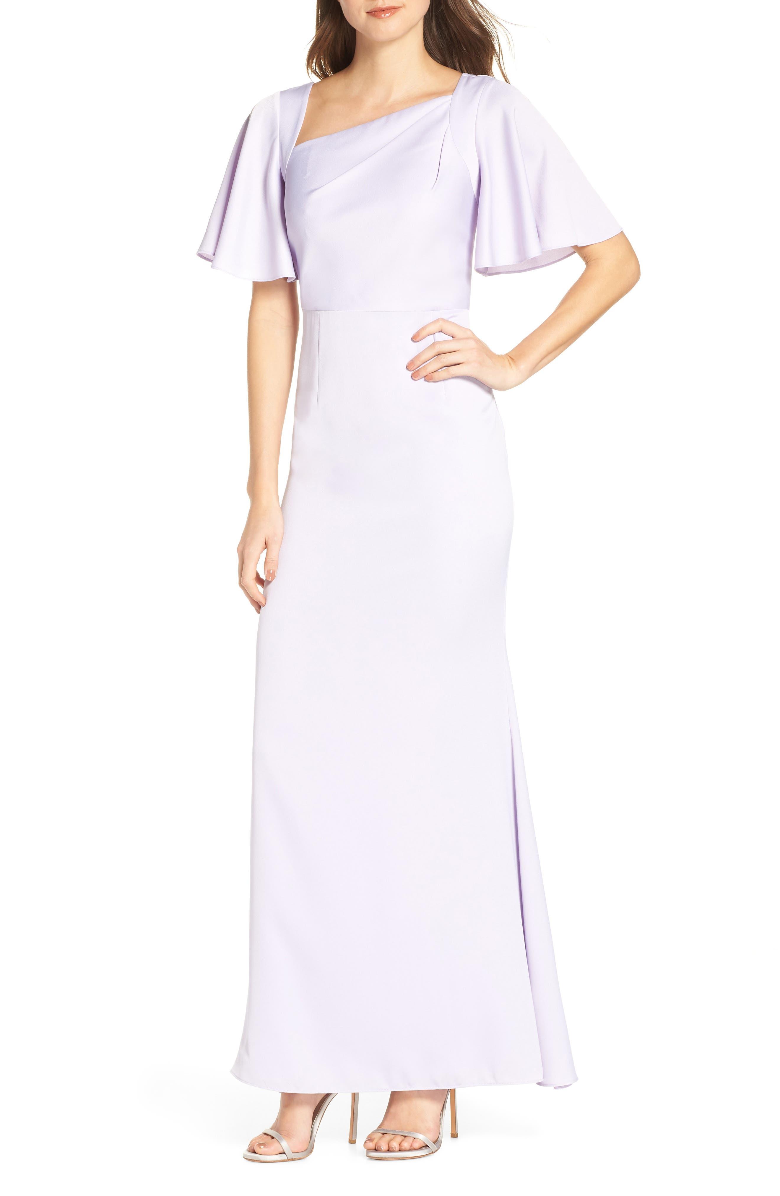 Asymmetrical Neckline Evening Dress, Main, color, LILAC