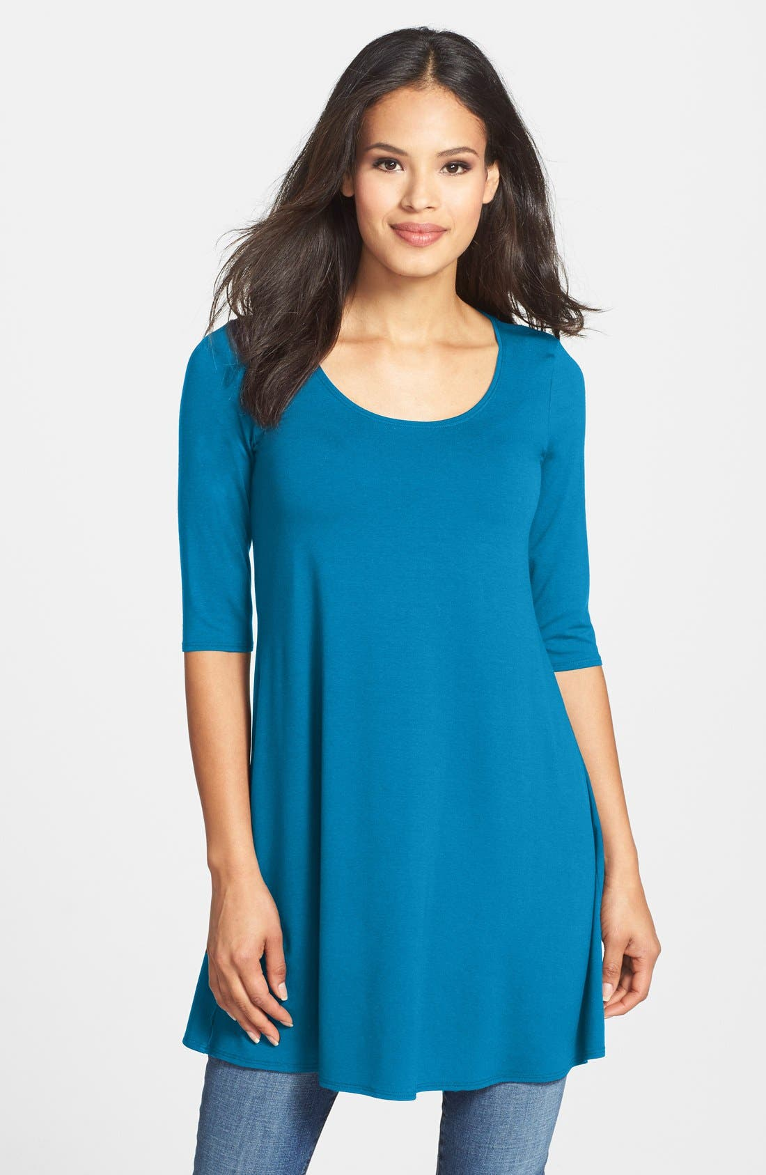 Scoop Neck Elbow Sleeve Jersey Tunic,                             Main thumbnail 10, color,