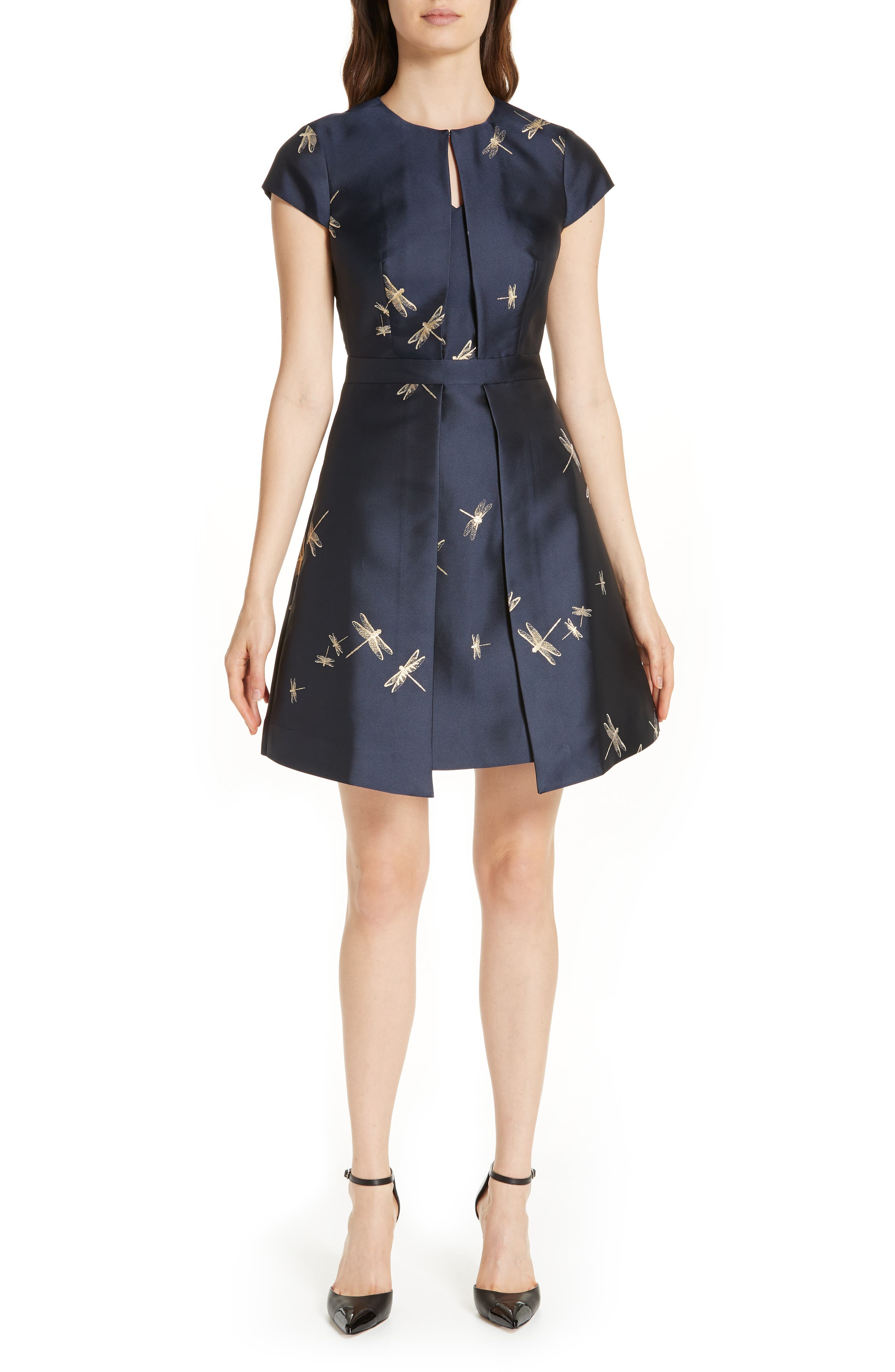 Adellu Fit & Flare Dress,                             Alternate thumbnail 6, color,                             NAVY