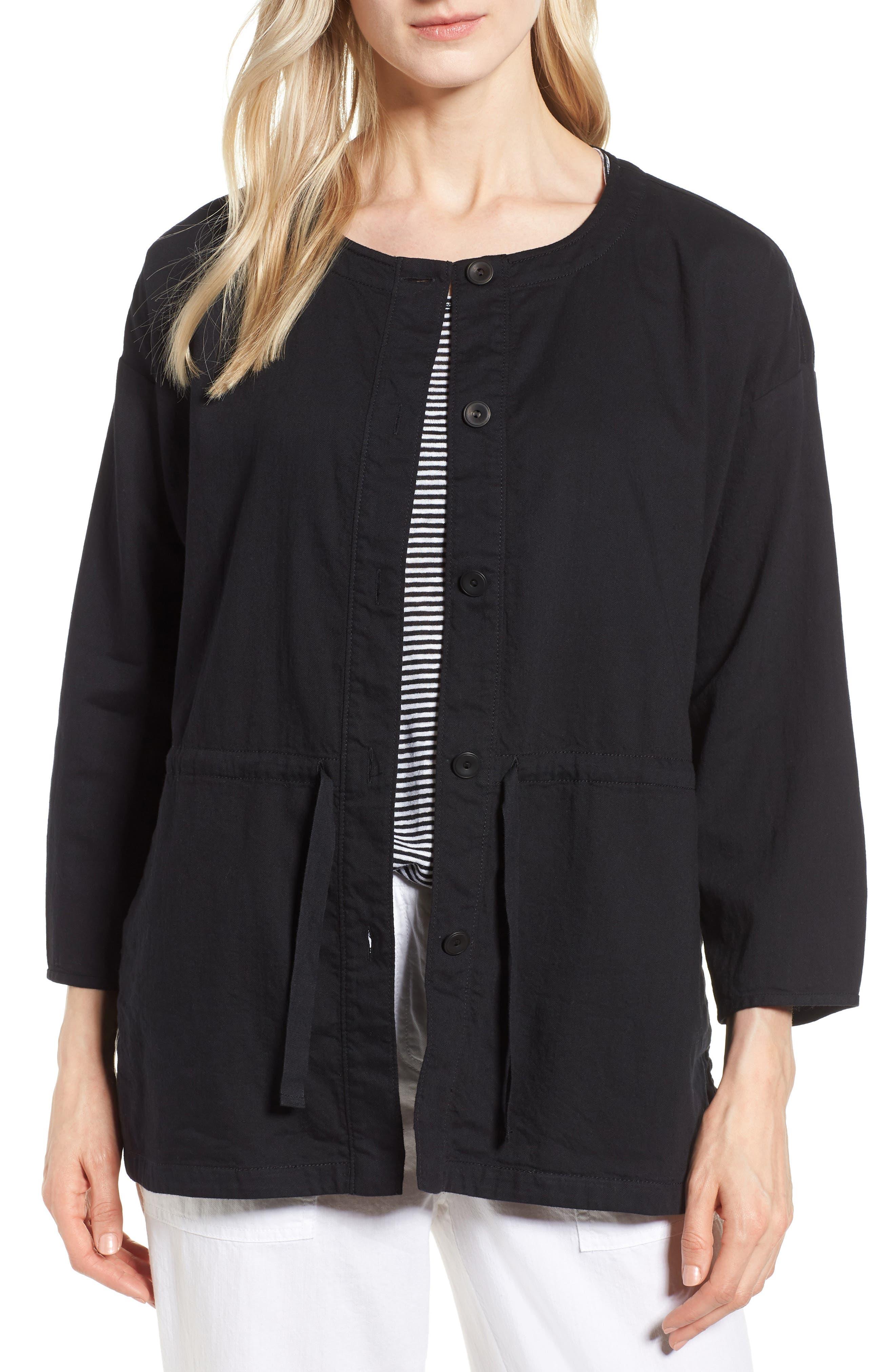 Shirttail Hem Organic Cotton Jacket,                             Main thumbnail 1, color,