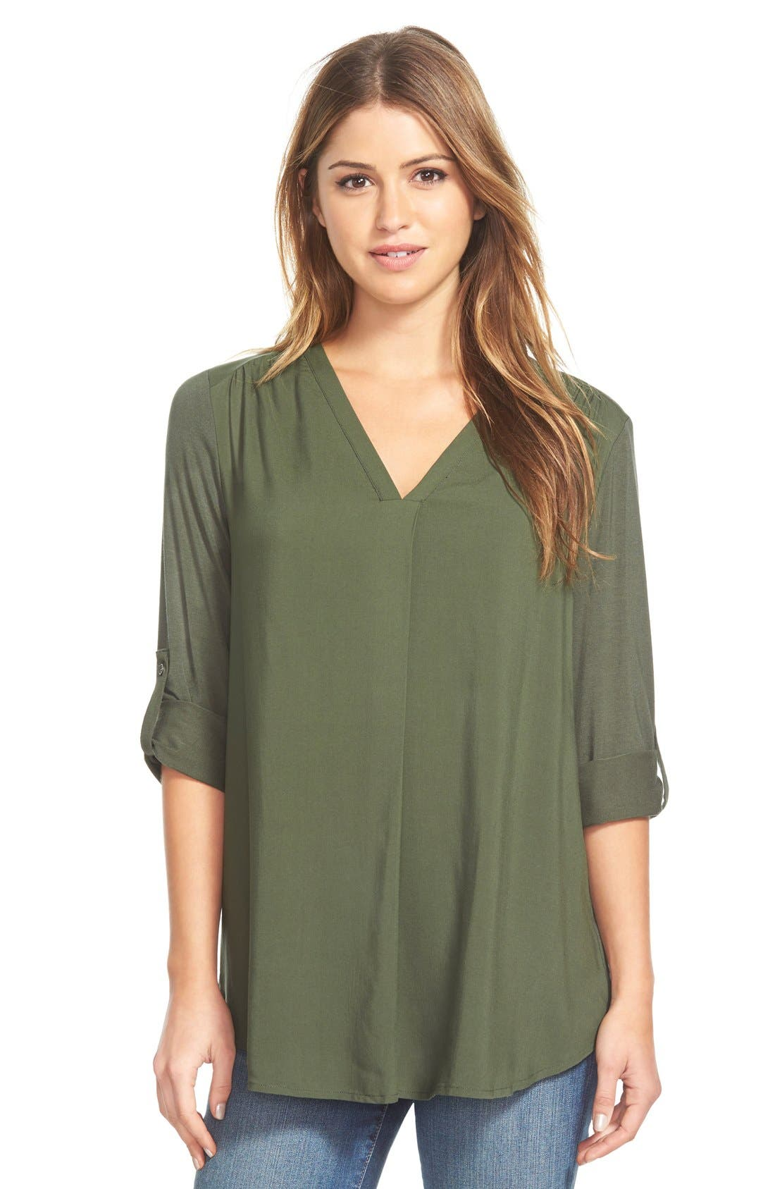Mixed Media V-Neck Tunic,                             Main thumbnail 9, color,