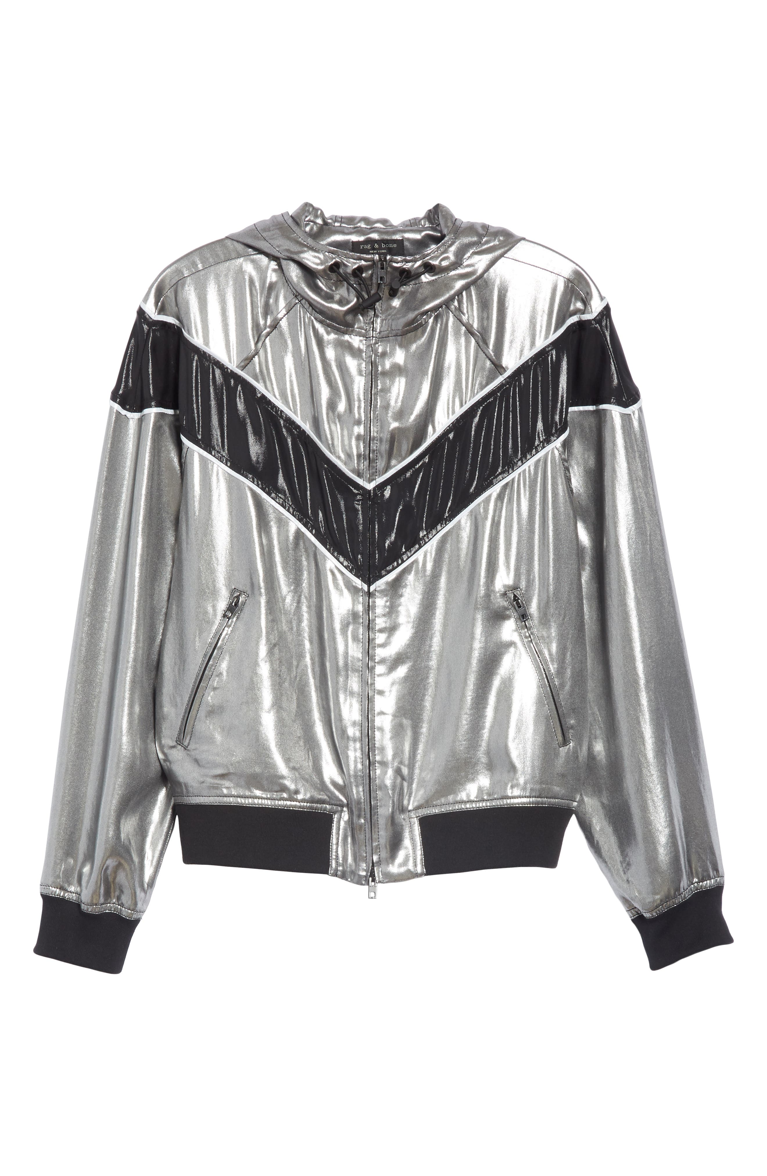 RAG & BONE,                             Sloane Metallic Track Jacket,                             Alternate thumbnail 6, color,                             SILVER/ BLACK