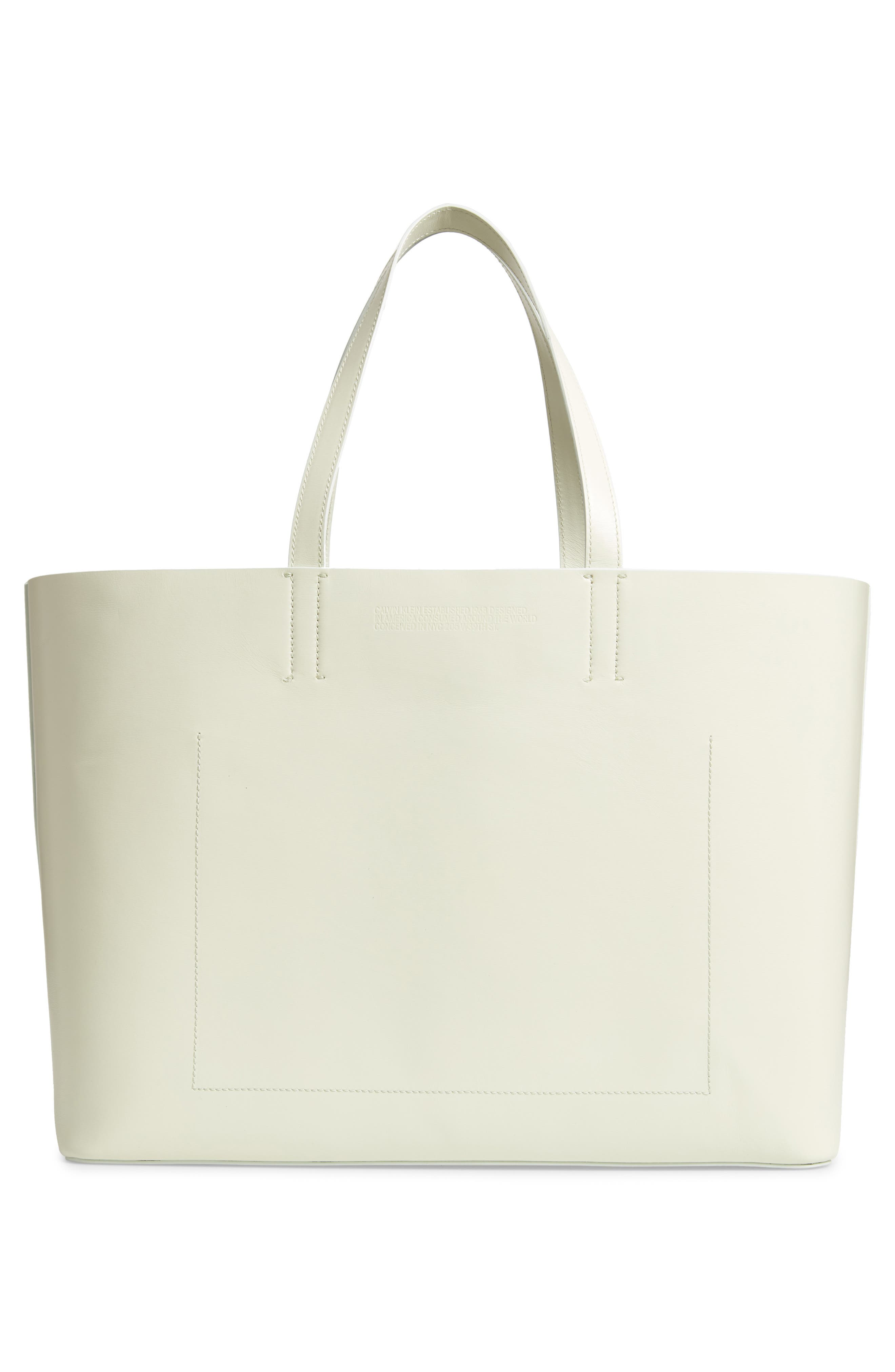 CALVIN KLEIN 205W39NYC,                             Road Runner East/West Leather Tote,                             Alternate thumbnail 3, color,                             053
