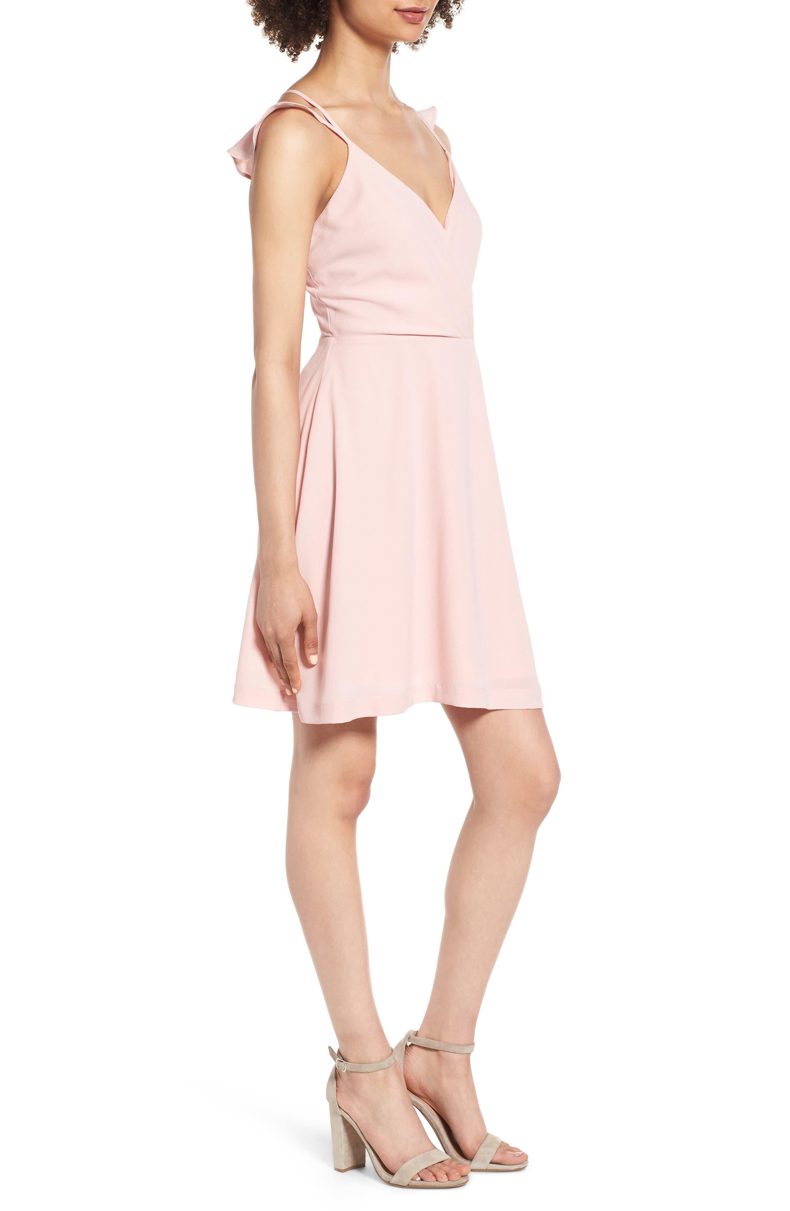 Strappy Surplice Mini Dress,                             Alternate thumbnail 3, color,                             650