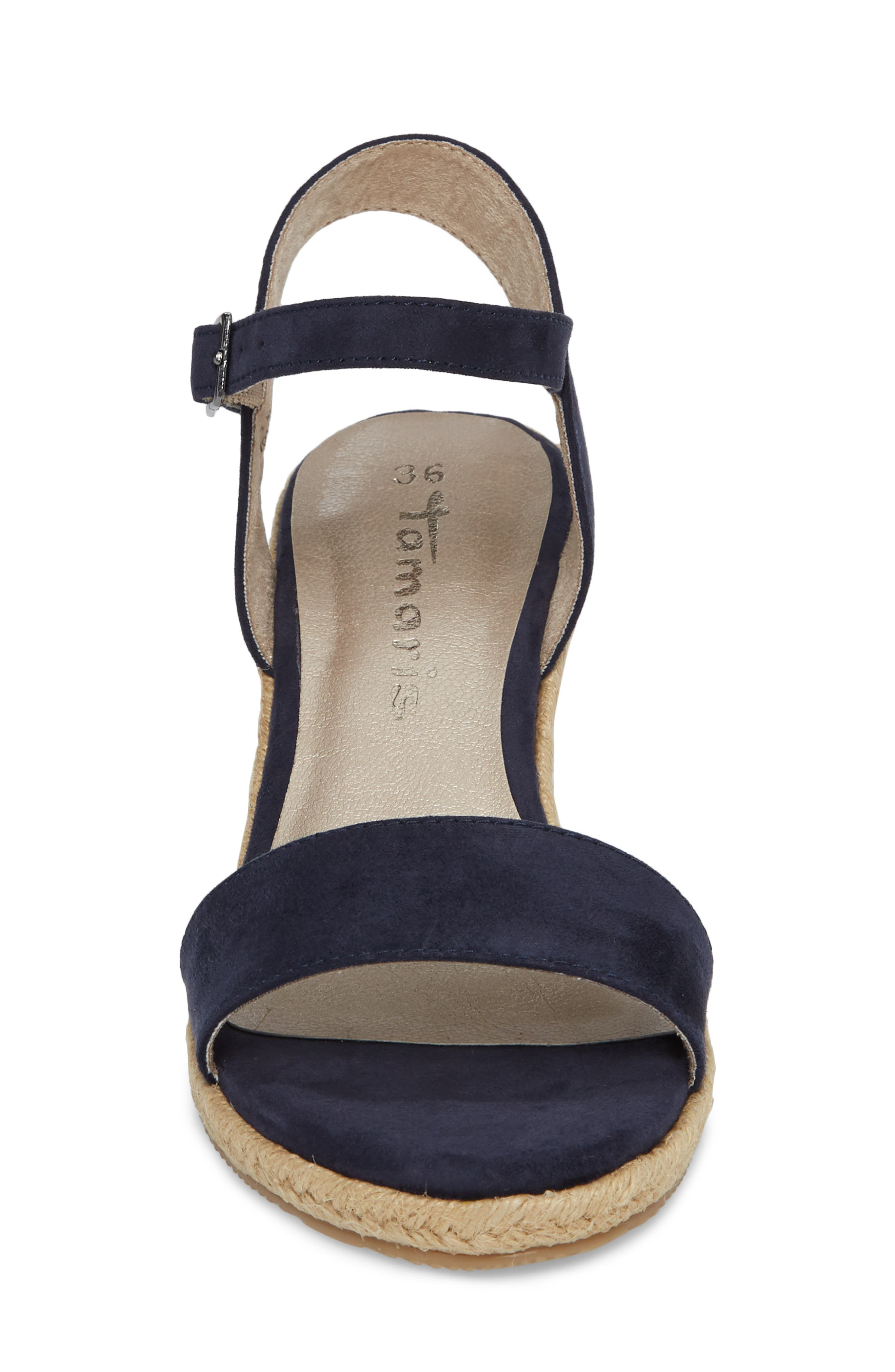 Livia Espadrille Wedge Sandal,                             Alternate thumbnail 4, color,                             NAVY FABRIC
