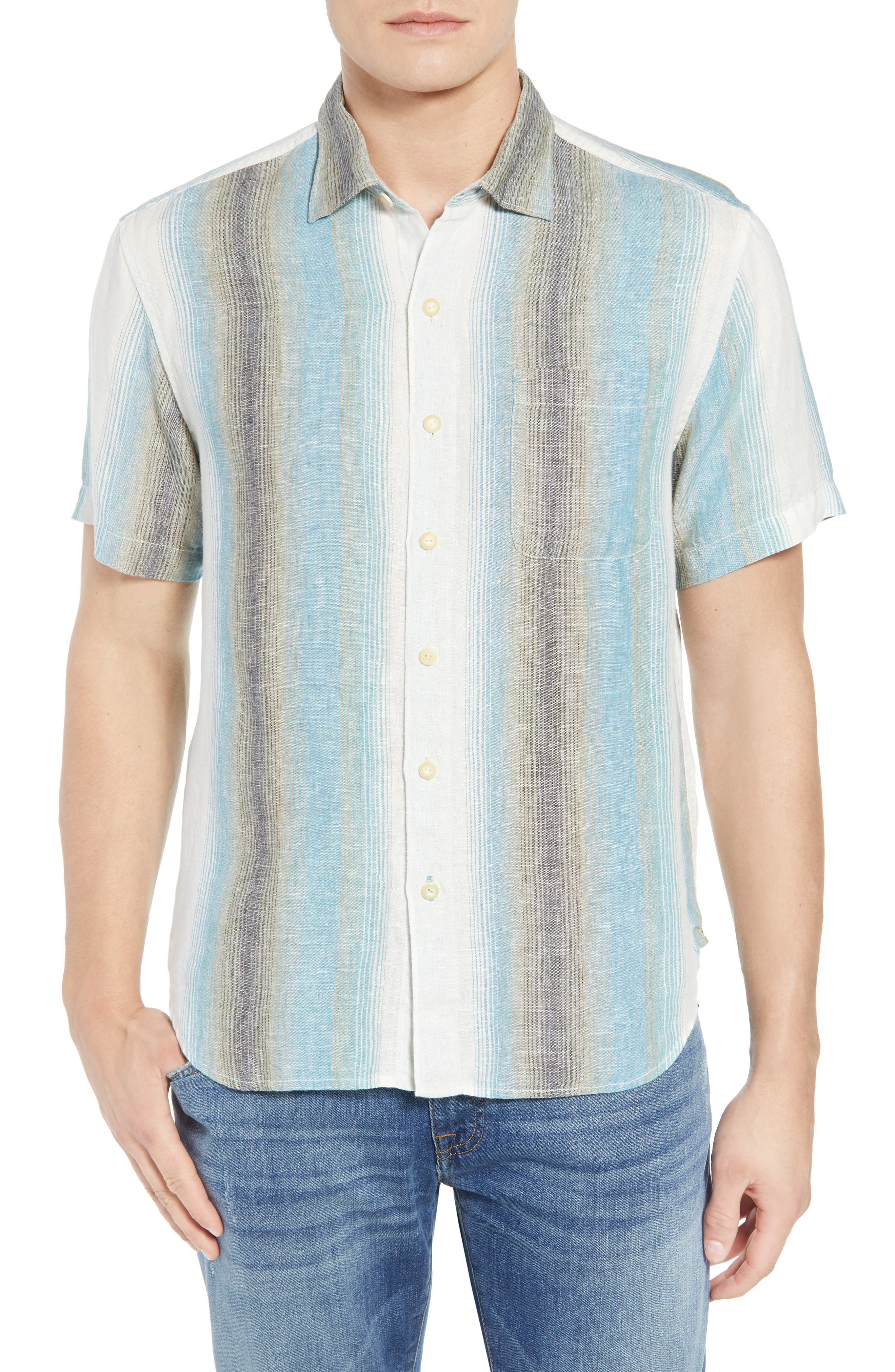 Sanchez Stripe Linen Sport Shirt,                         Main,                         color, VOYAGER BLUE