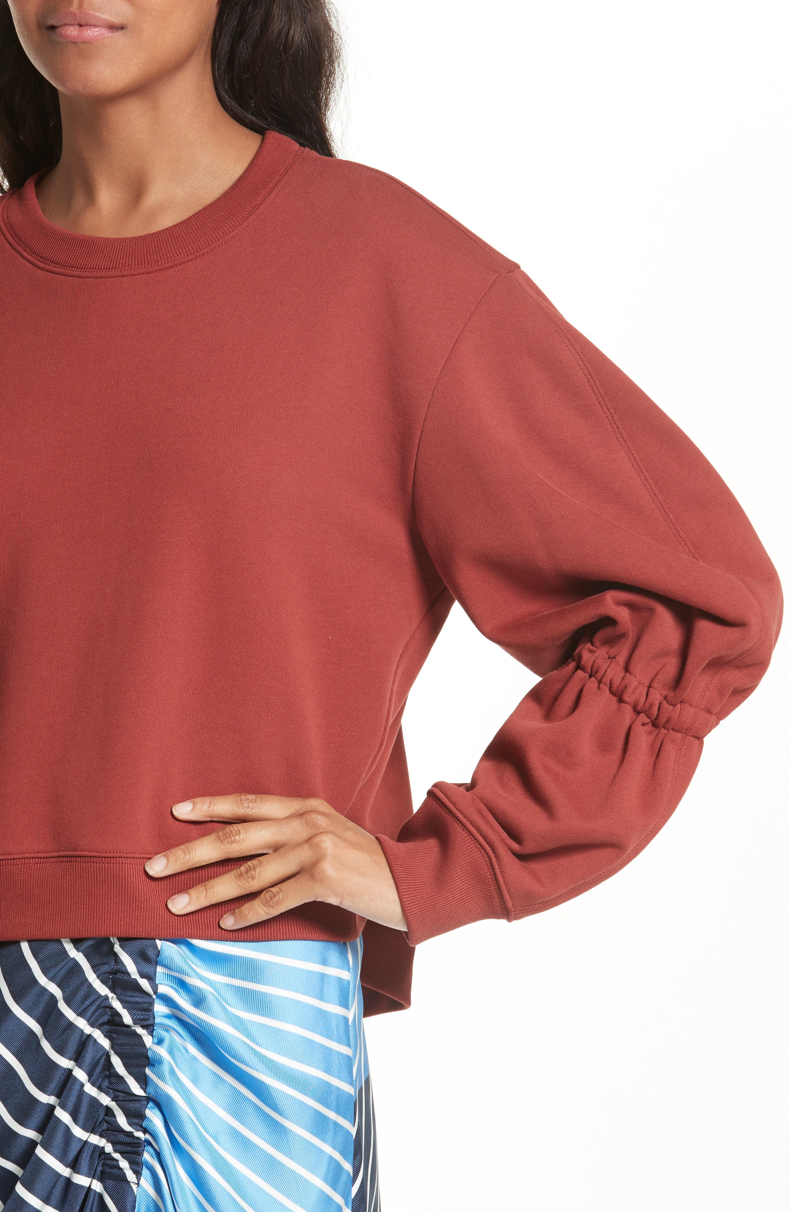 Sculpted Sleeve Sweatshirt,                             Alternate thumbnail 4, color,                             606