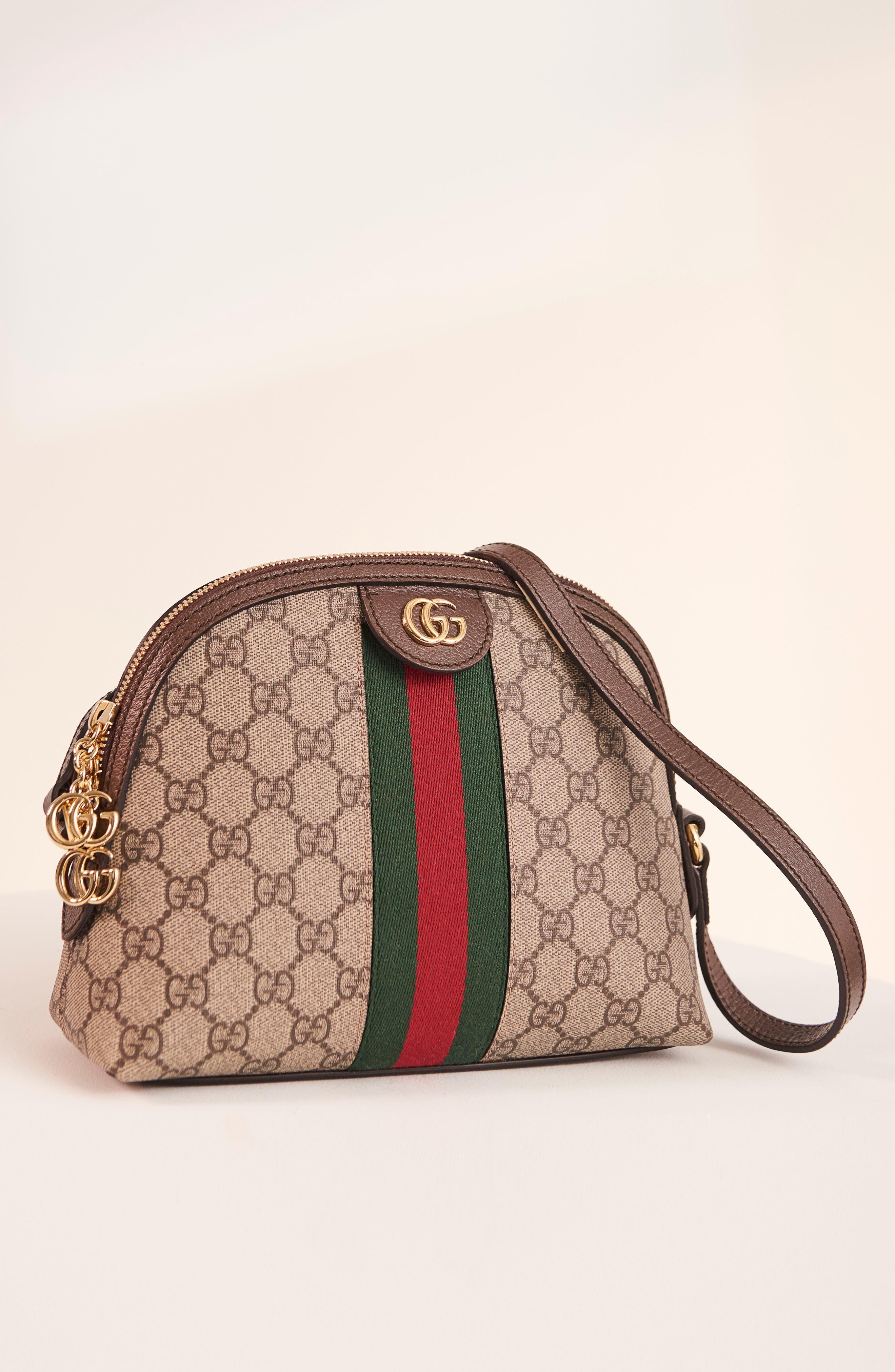 GG Supreme Canvas Shoulder Bag,                             Alternate thumbnail 6, color,                             BEIGE EBONY/ NERO/ RED