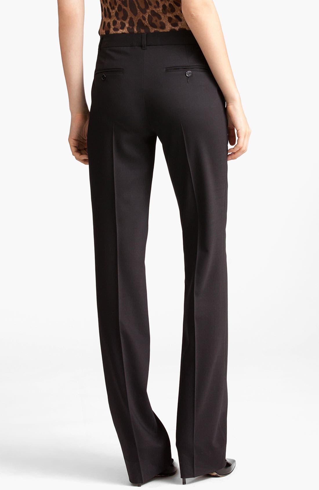 Straight Leg Stretch Wool Trousers,                             Alternate thumbnail 10, color,                             BLACK