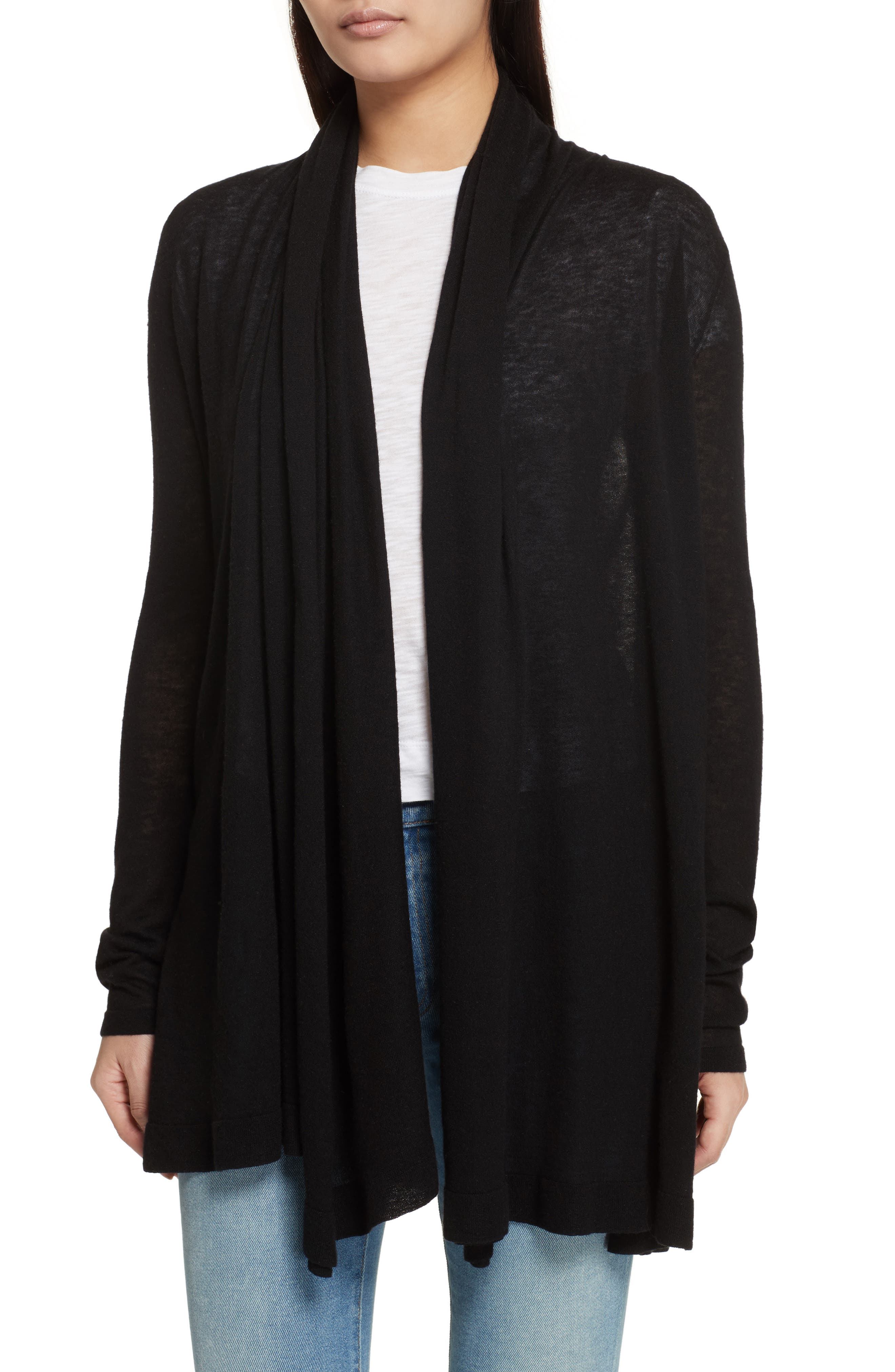 THEORY Featherweight Cashmere Cardigan, Main, color, 001